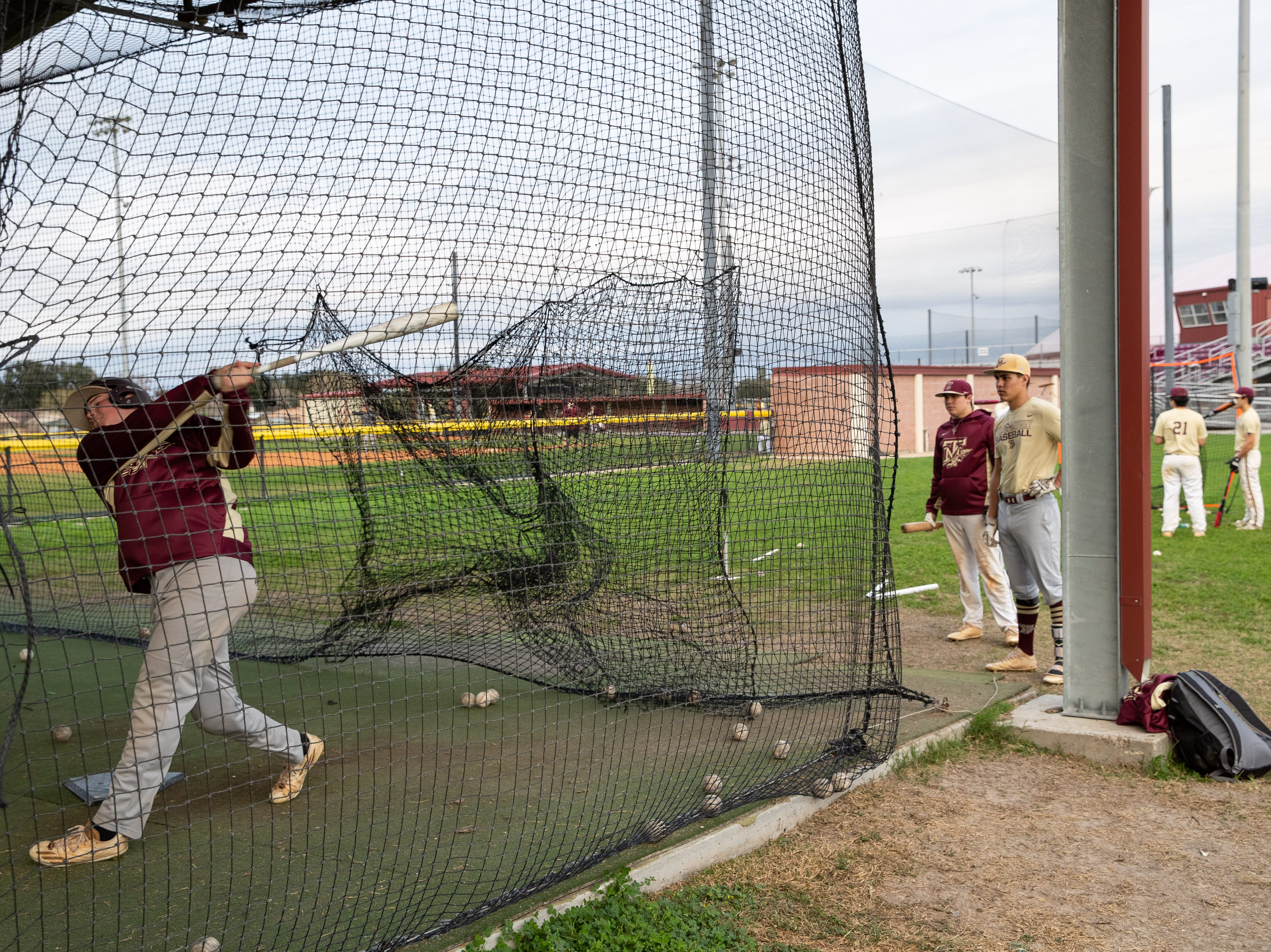 Tuloso-Midway baseball team during batting practice on Thursday, Feb. 7, 2019.