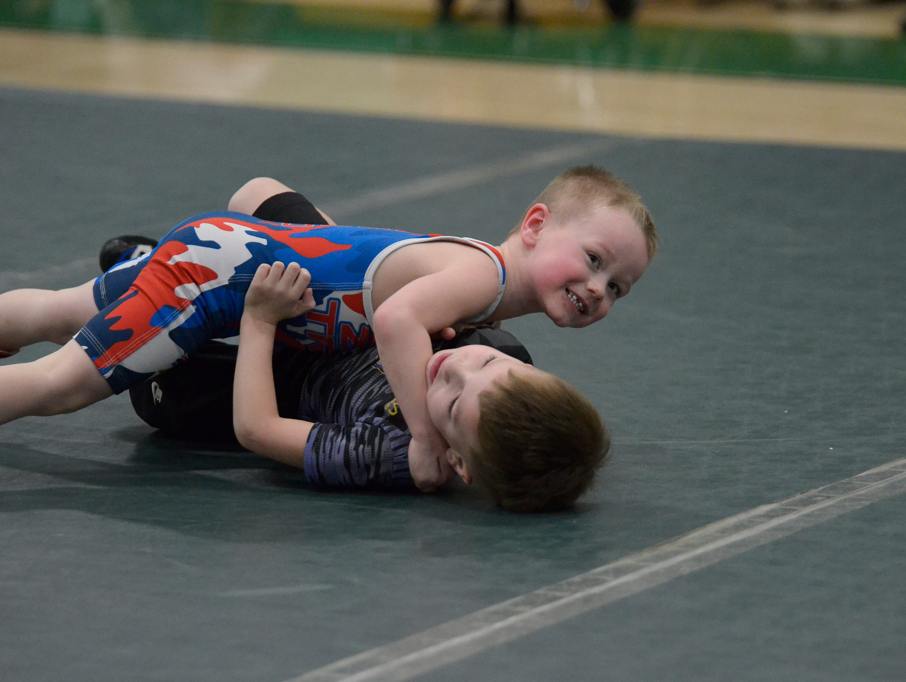 """Huntington High School's annual """"Unleash The Beast Youth Wrestling Tournament"""" was held on Friday, Feb. 8, 2019, with over one-hundred young wrestlers from Adena, Unioto, Zane Trace, Greenfield, Miami Trace, Amanda Clearcreek, FCWC, Hillsboro, Washington Courthouse and Huntington participating."""