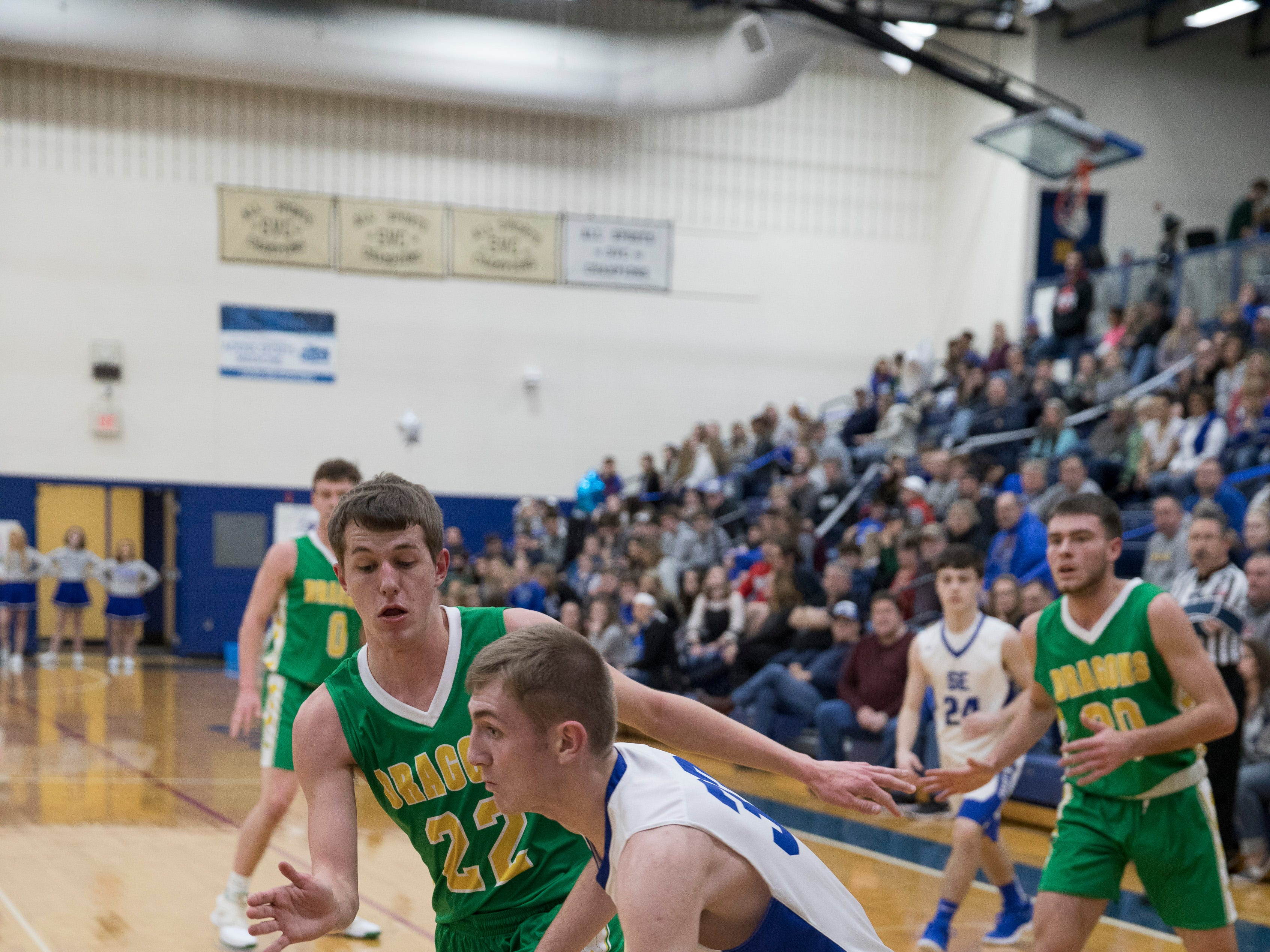Southeastern defeated West Union 64-56 Saturday night at Southeastern High School.
