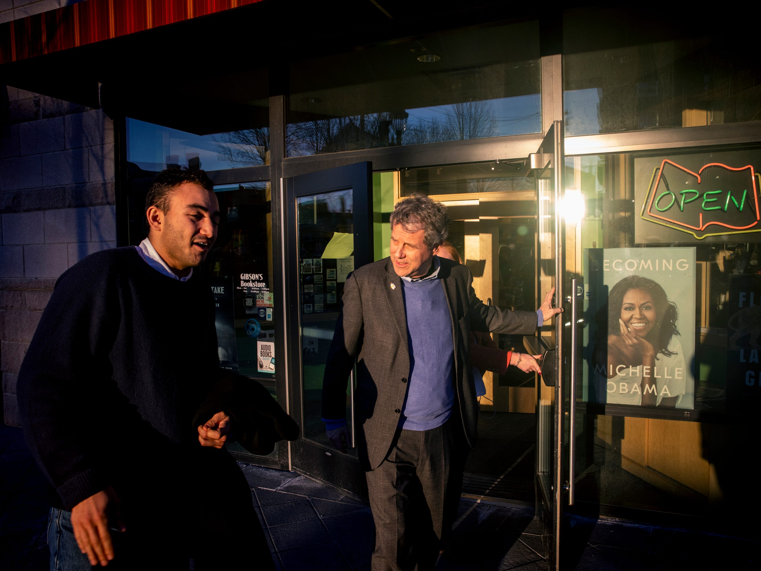 Senator Sherrod Brown leaves Gibson's Bookstore in Concord, N. H. after speaking to a large crowd Saturday, February 9, 2019.