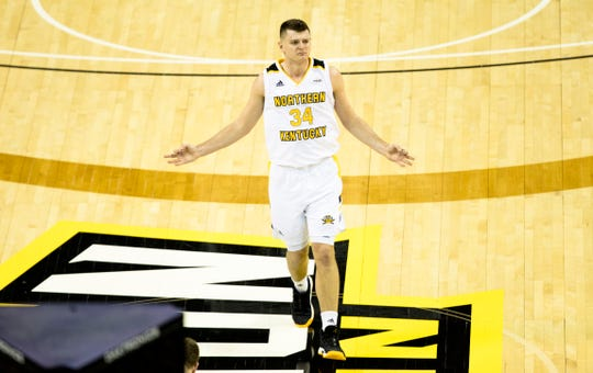 Northern Kentucky Norse forward Drew McDonald (34) celebrates after hitting a 3-pointer in the second half of the men's NCAA basketball game between Northern Kentucky Norse and Oakland Golden Grizzlies on Saturday, Feb. 9, 2019, at BB&T Arena in Highland Heights, Ky. Northern Kentucky Norse defeated Oakland Golden Grizzlies 79-64.