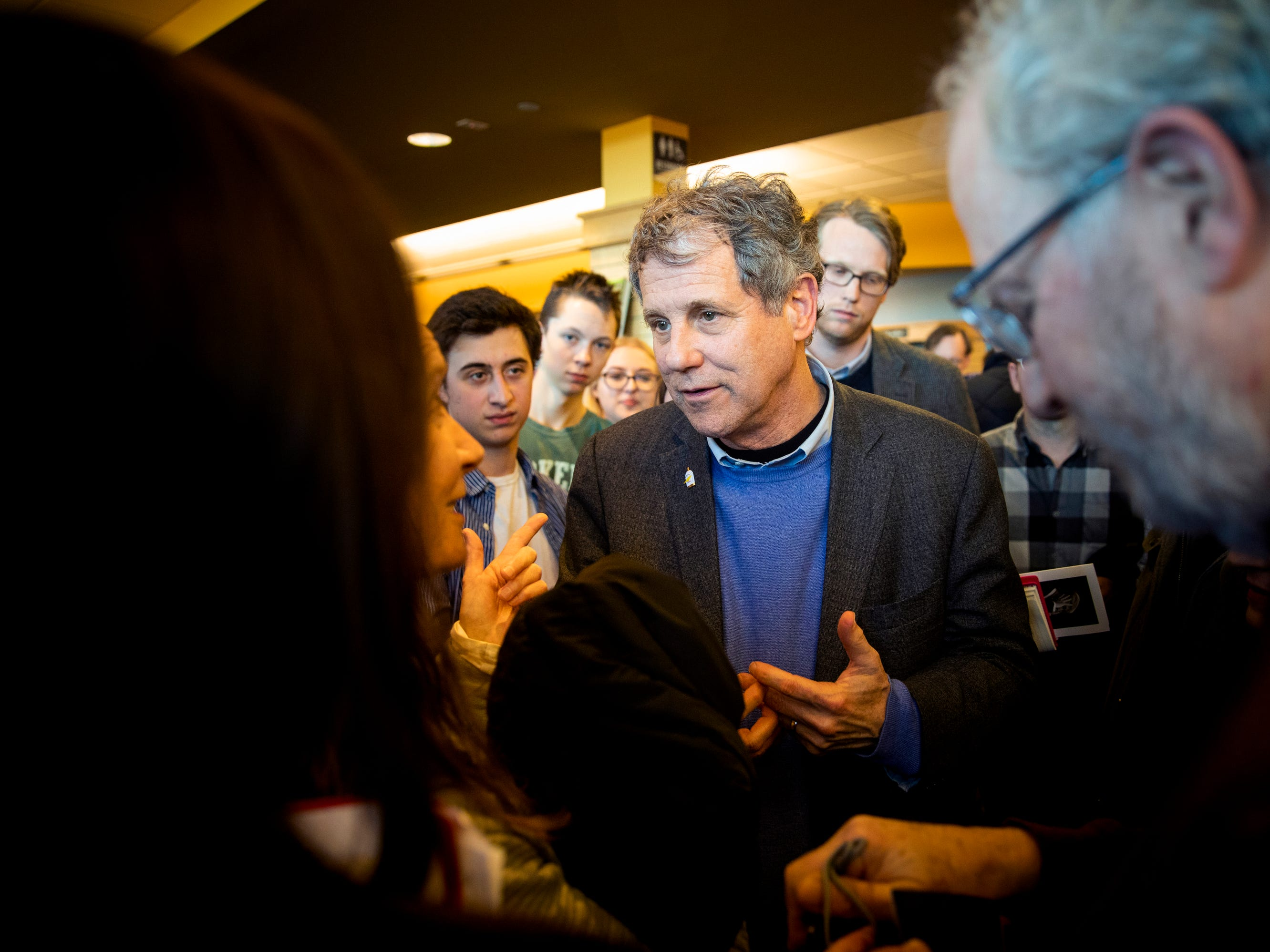 Senator Sherrod Brown meets people at Gibson's Bookstore in Concord, N.H. Saturday, February 9, 2019.