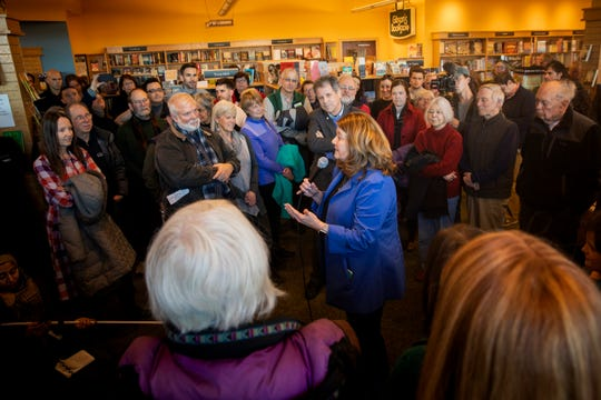 Connie Schultz introduces her husband Senator Sherrod Brown during a meet and greet at Gibson's Bookstore in Concord, N.H. Saturday, February 9, 2019.