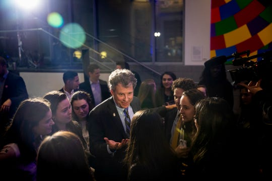 Senator Sherrod Brown meets with New Hampshire Young Democrats at the Granite Slate Awards at the Currier Museum in Manchester, N.H. Saturday, February 9, 2019.