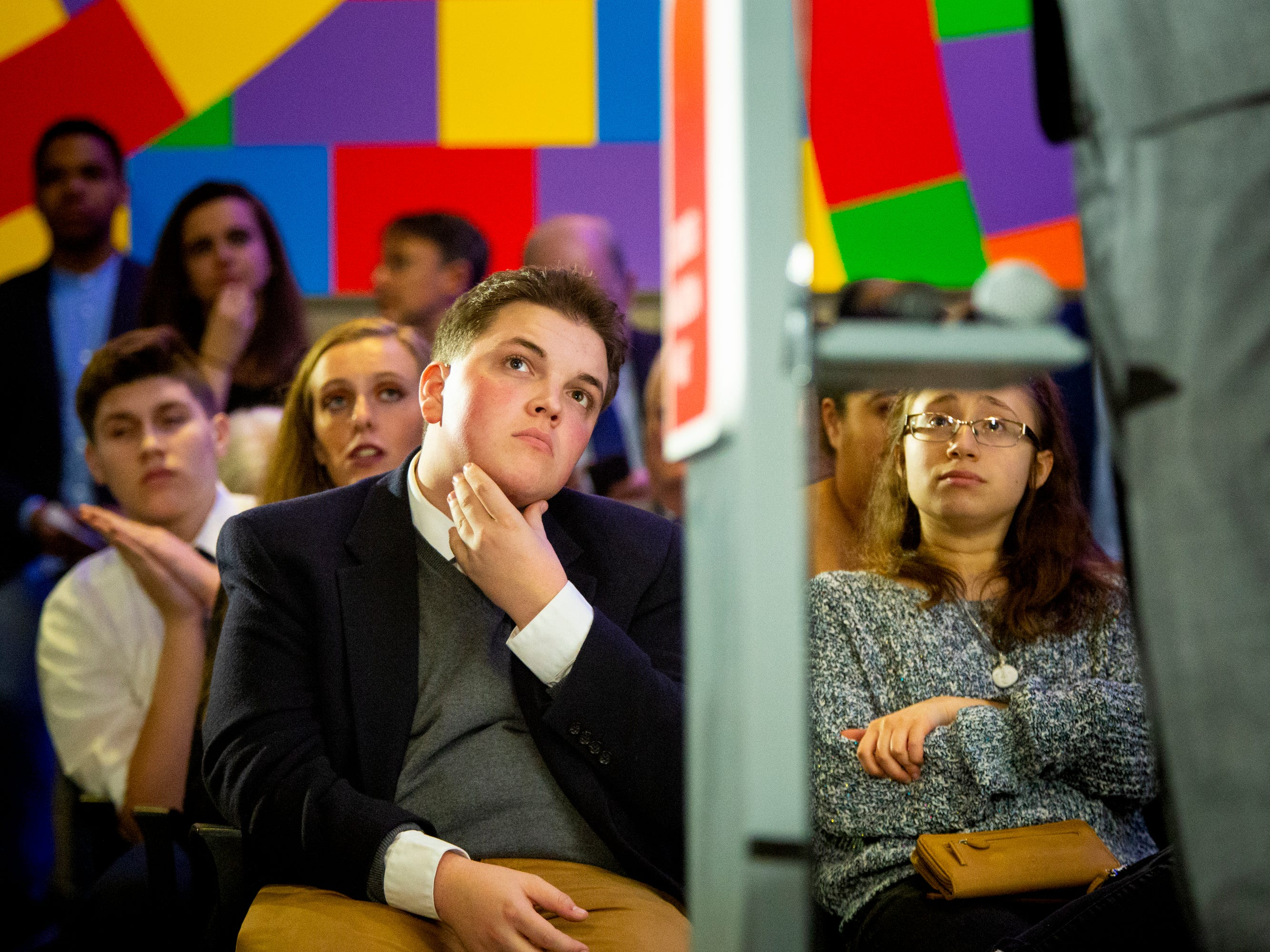 New Hampshire Young Democrats listen to Senator Sherrod Brown deliver the keynote speech at the Granite Slate Awards at the Currier Museum in Manchester, N.H. Saturday, February 9, 2019.