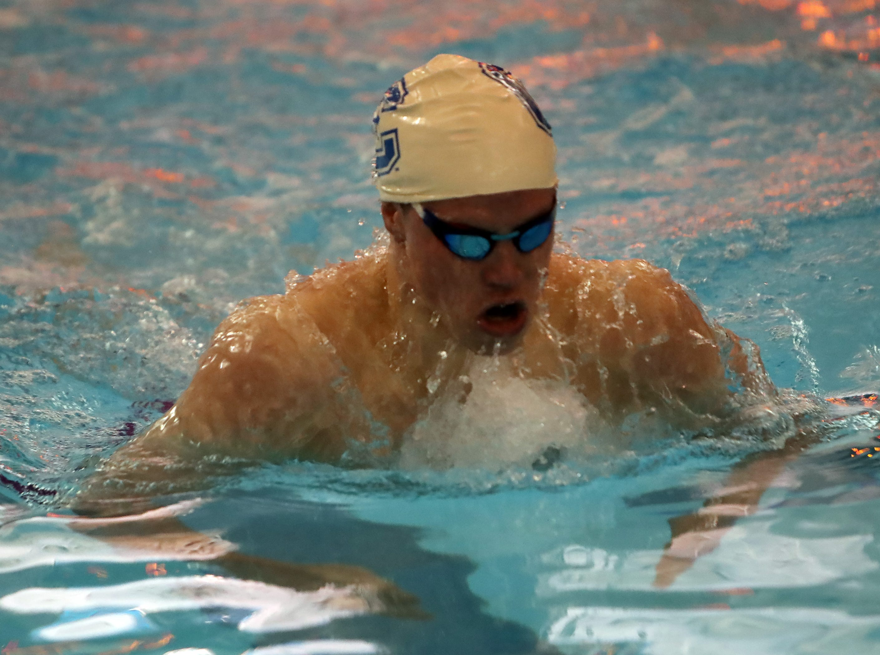 Covington Catholic's Ethan Hanna wins the Boys 200 Yard IM at the  Regional Final at the KHSAA Regional Swimming Finals in Erlanger, Kentucky.