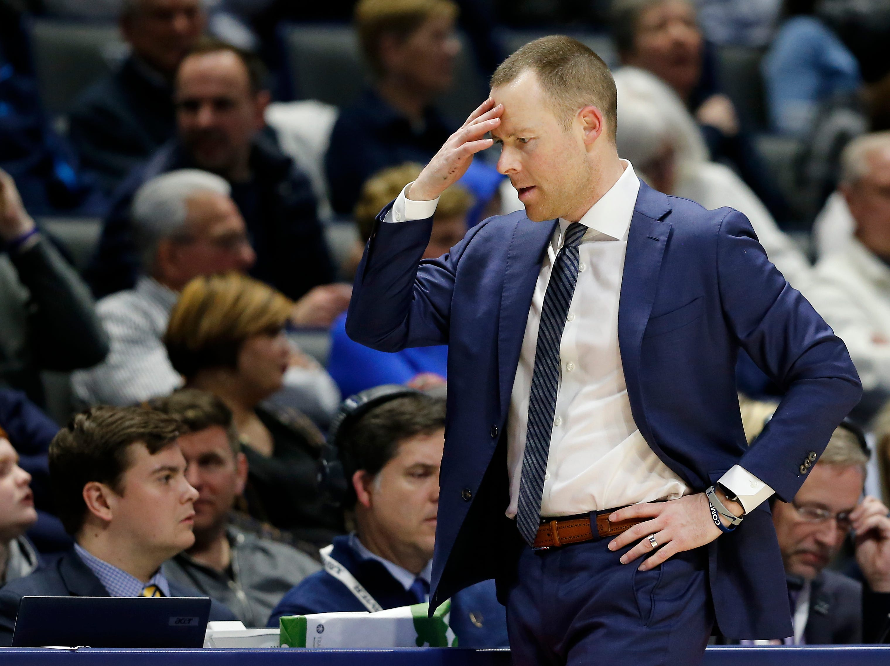 Xavier Musketeers head coach Travis Steele shakes his heads in the second half of the NCAA Big East Conference game between the Xavier Musketeers and the DePaul Blue Demons at the Cintas Center in Cincinnati on Saturday, Feb. 9, 2019. Xavier lost its sixth game in a row, 74-62.