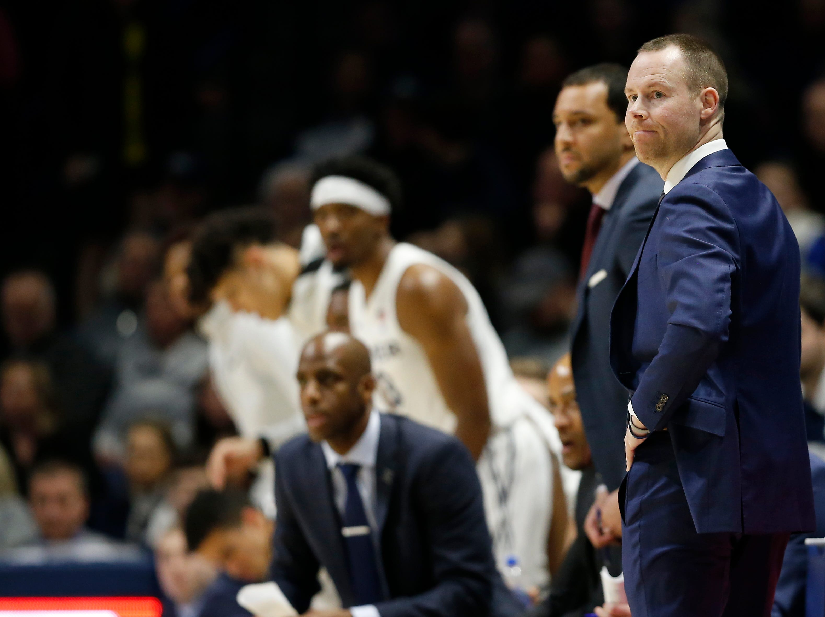 Xavier Musketeers head coach Travis Steele shakes his head in the first half of the NCAA Big East Conference game between the Xavier Musketeers and the DePaul Blue Demons at the Cintas Center in Cincinnati on Saturday, Feb. 9, 2019.