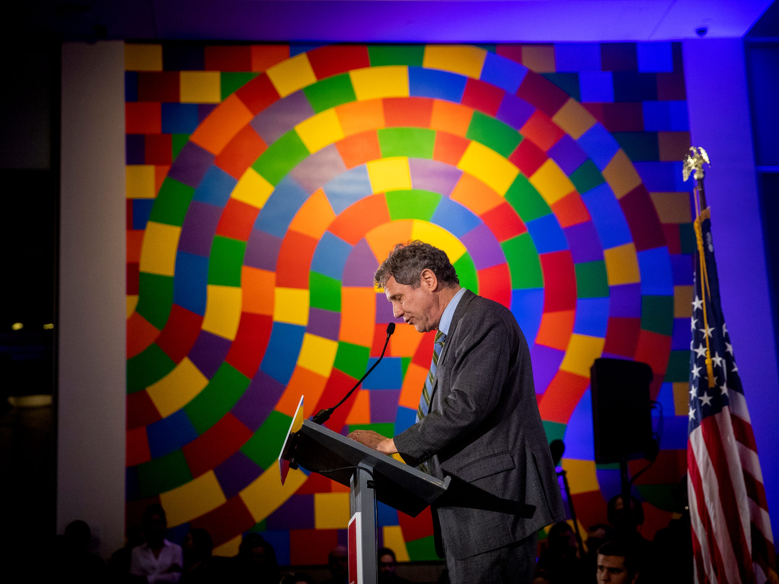 Senator Sherrod Brown delivers the keynote speech at the New Hampshire Young Democrats' Granite Slate Awards at the Currier Museum in Manchester, N.H. Saturday, February 9, 2019.