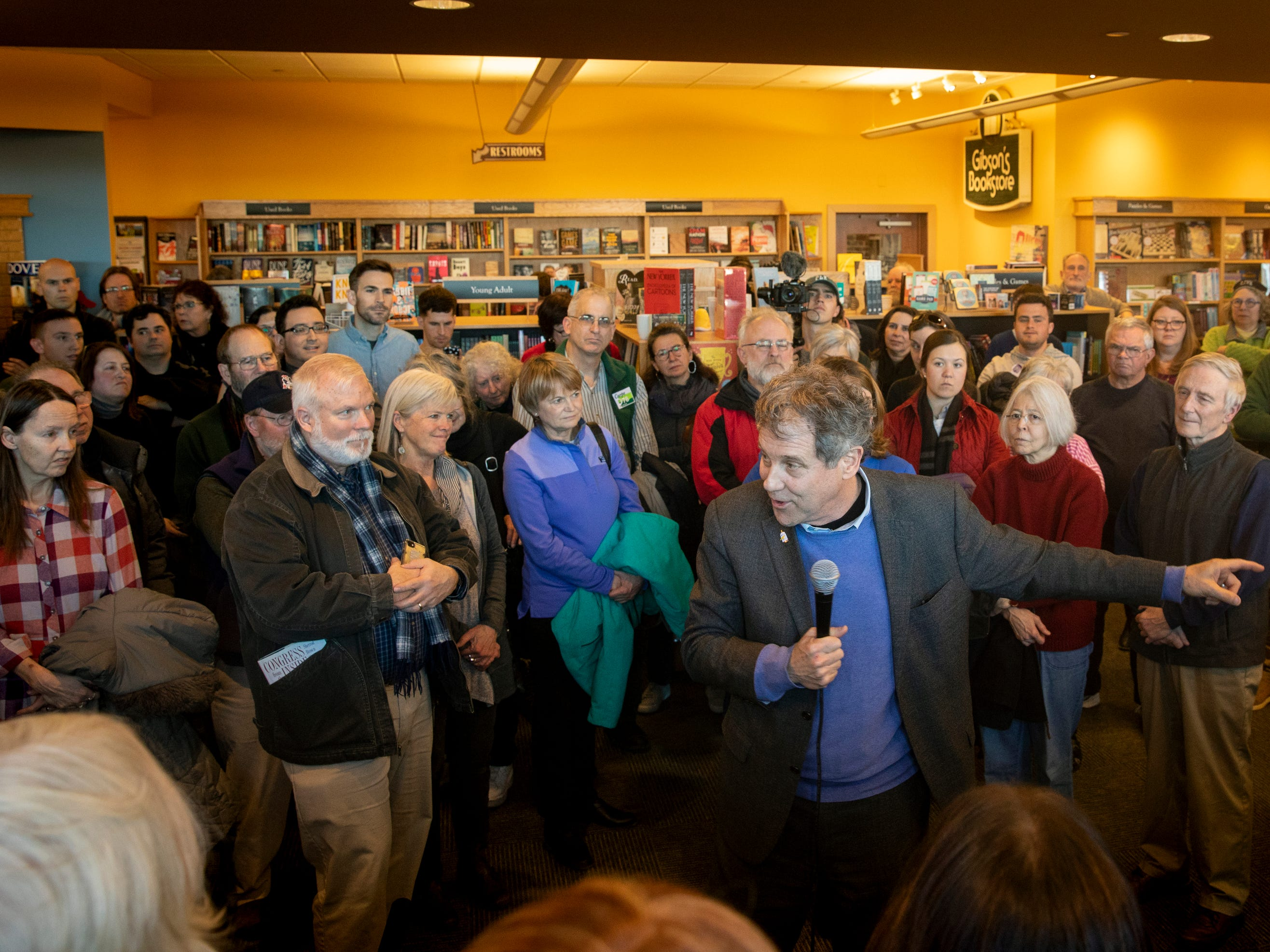 Senator Sherrod Brown speaks to a large crowd at Gibson's Bookstore in Concord, N.H. Saturday, February 9, 2019. Michael Herrmann, the owner of Gibson's Bookstore, said it was the largest crowd the store has seen since Christmas Eve.