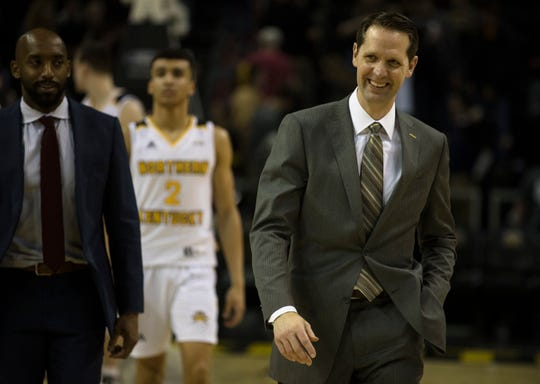 Northern Kentucky Norse head coach John Brannen smiles after the men's NCAA basketball game between Northern Kentucky Norse and Oakland Golden Grizzlies on Saturday, Feb. 9, 2019, at BB&T Arena in Highland Heights, Ky. Northern Kentucky Norse defeated Oakland Golden Grizzlies 79-64.