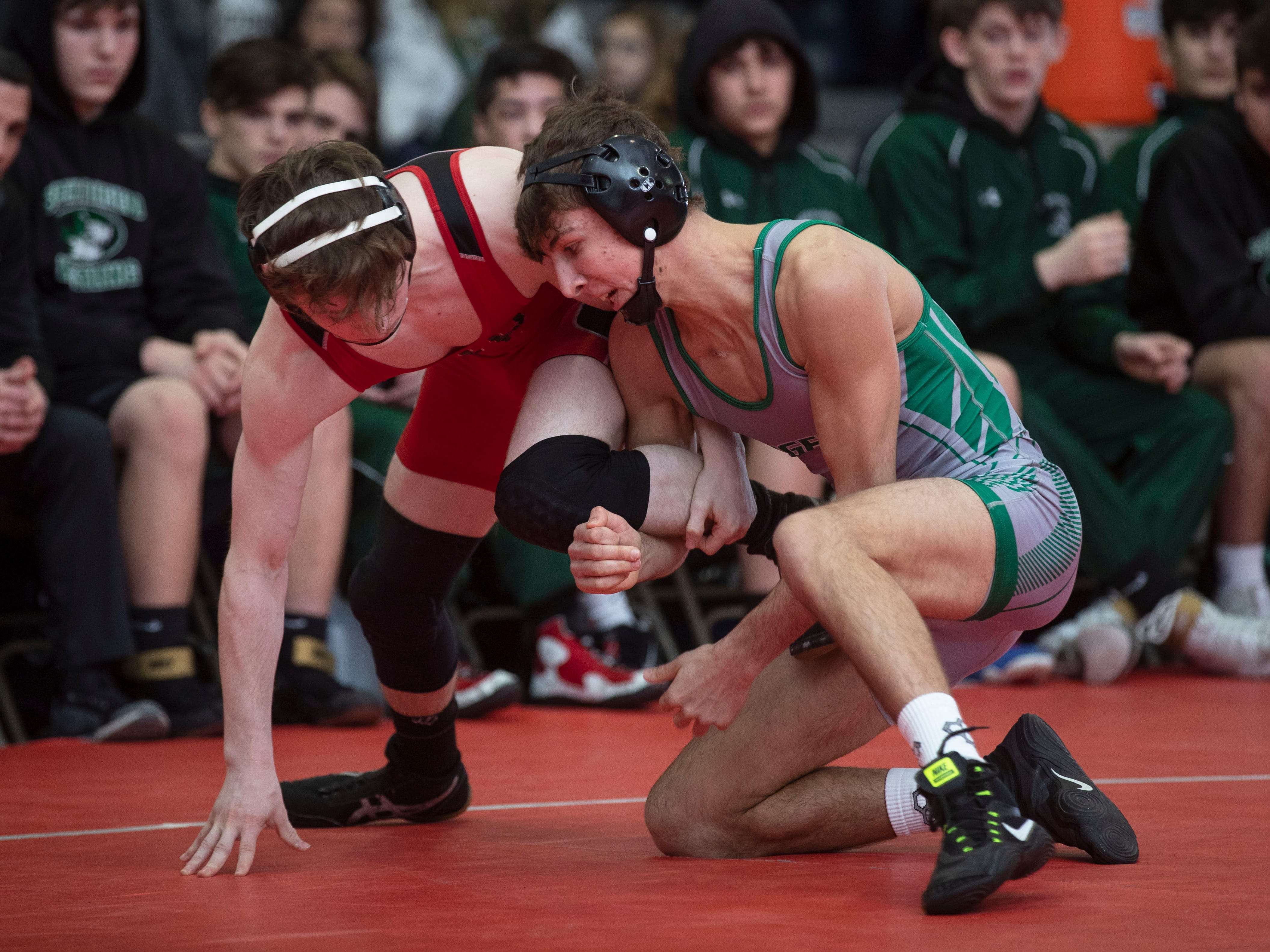 138: Billy Talmadge (HP) Tech Falls Xavier Santos South Plainfield/High Point leads  with 9 bouts left. South Plainfield vs High Point in Group II Wrestling Team Championship.