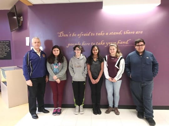 Throughout the school year, the Middle/High School teaching staff nominates students. The nominations are based on character, school spirit, and academic integrity. For January we are happy to announce our winners. Pictured from left to right: Principal - Dr. Patrick McCabe, and Middle School students: Grade 6 - Catalina Muniz,  Grade 7- Victoria Myers  , Grade 8 - Alisa Mannan and High School students: Tatjana Roessle  and Jonathan Morales.