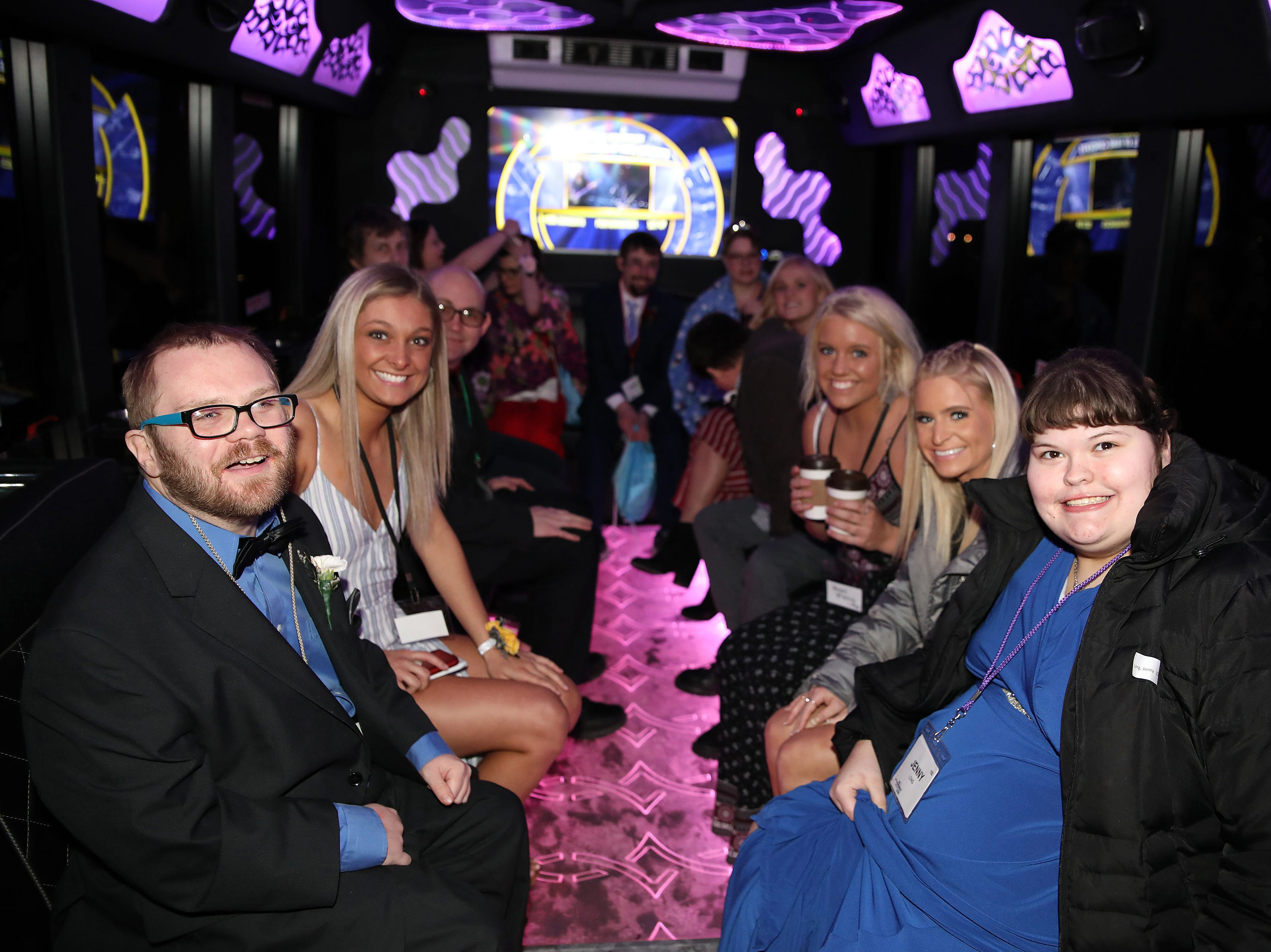The limo-bus heads out for spin during the Night to Shine event at Prairie Ridge Church in Ankeny on Friday, Feb. 8, 2019. Sponsored by the Tim Tebow Foundation, the event for adults with special needs features a prom-like atmosphere with dancing, limo rides, food and more.