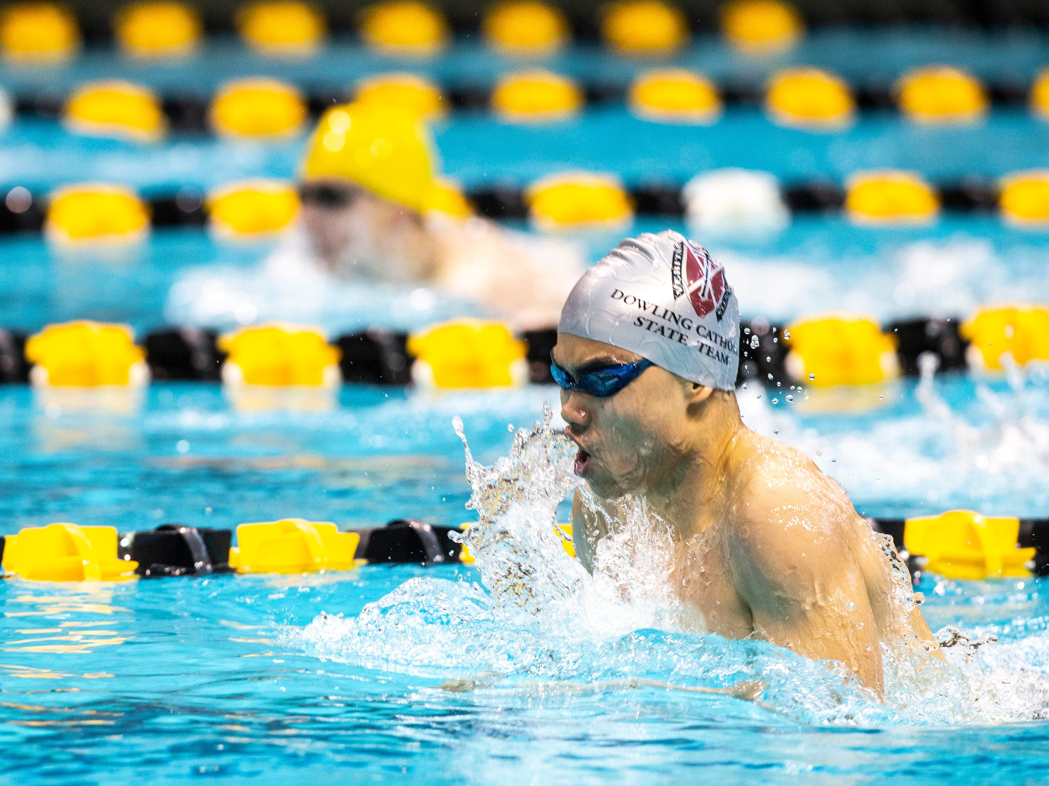 Dowling Catholic senior Jerry Xu competes in the during the Iowa boys' state swimming regional championship meet on Saturday, Feb. 9, 2019 at Campus Recreation and Wellness Center on the University of Iowa campus in Iowa City, Iowa. Xu finished eighth overall, with a time of 1:00.46.