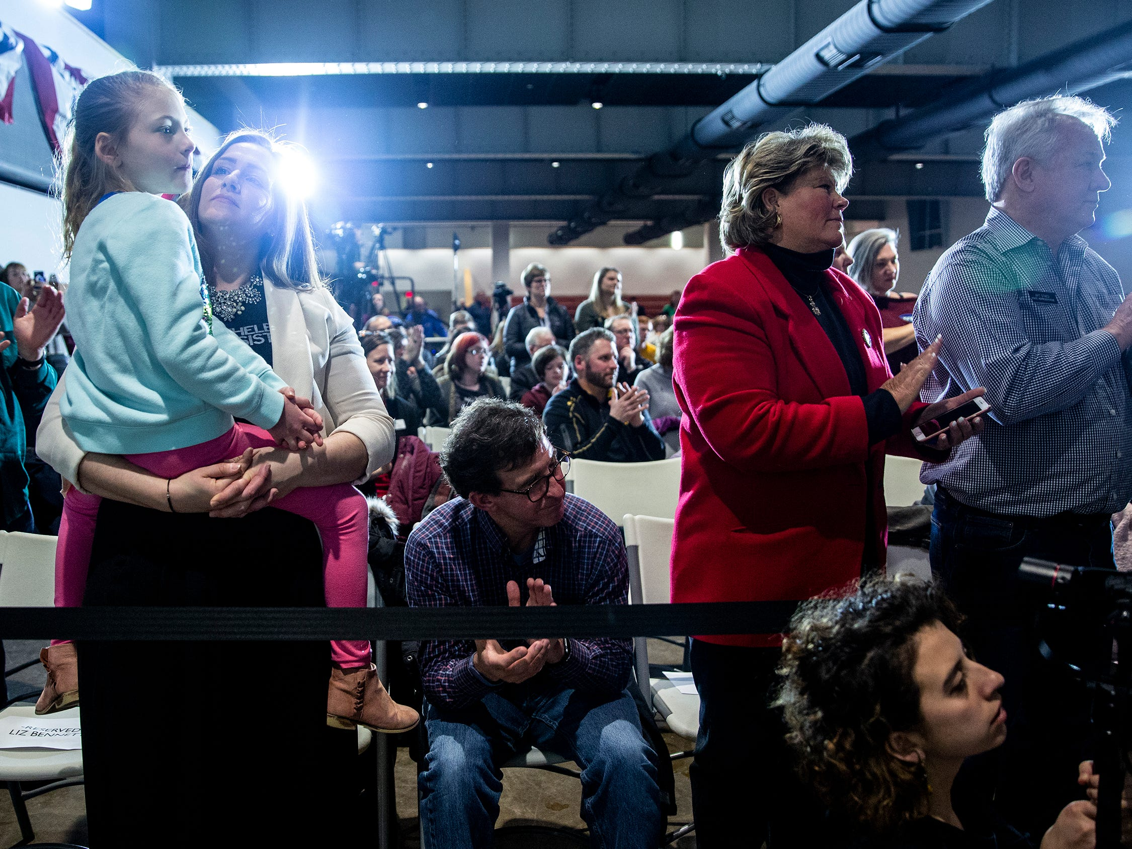 The crowd gathered in the Veterans Memorial Building in downtown Cedar Rapids listens and applauds Sen. Elizabeth Warren, D-Mass, on Sunday, Feb. 10, 2019. About 200 people attended her first campaign stop in Iowa after officially announcing her 2020 campaign.