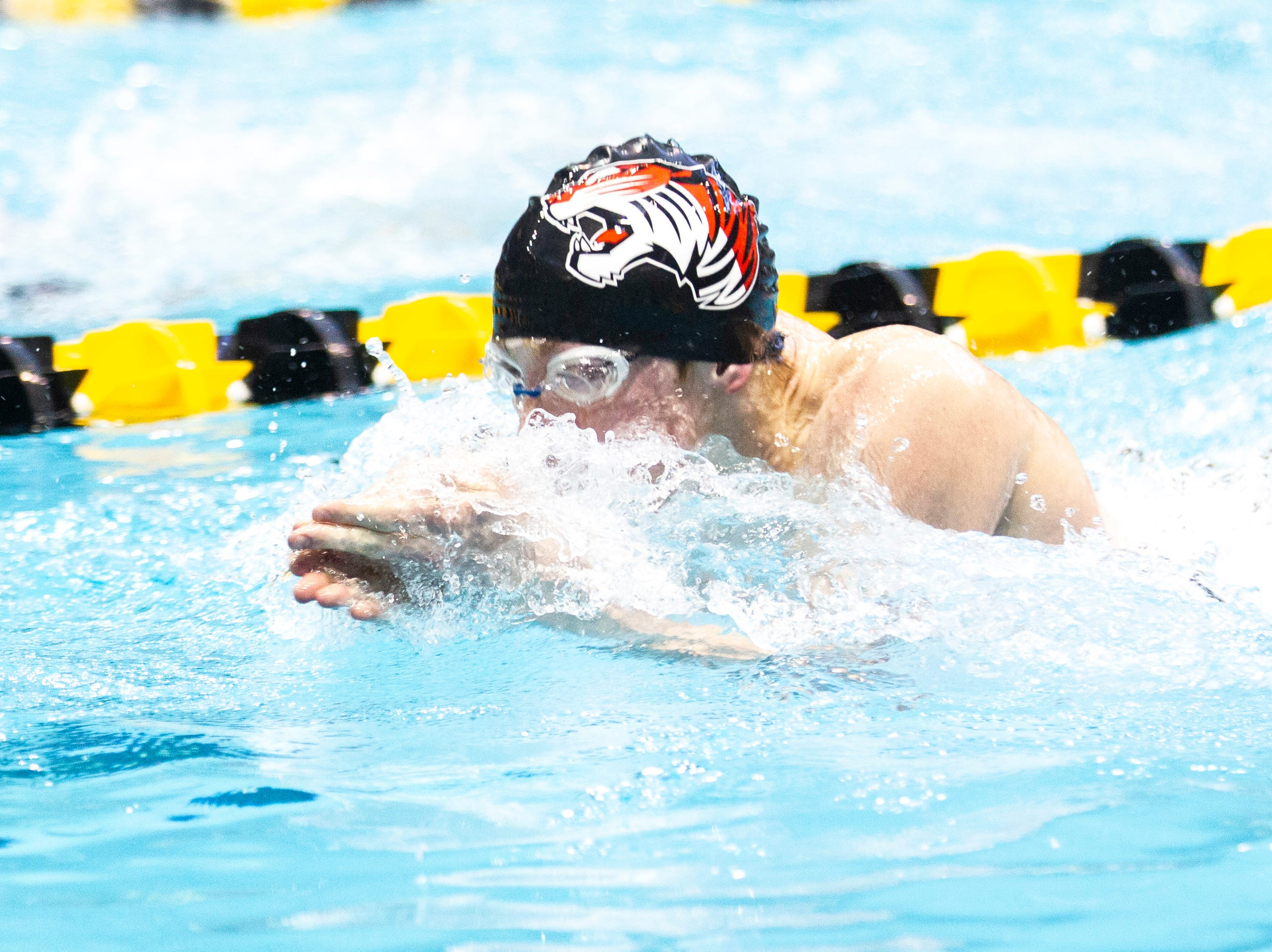 Cedar Falls sophomore Matt Durbin competes in the 200 yard medley relay during the Iowa boys' state swimming regional championship meet on Saturday, Feb. 9, 2019 at Campus Recreation and Wellness Center on the University of Iowa campus in Iowa City, Iowa. Cedar Falls finished fourth overall, with a time of 1:36.66.