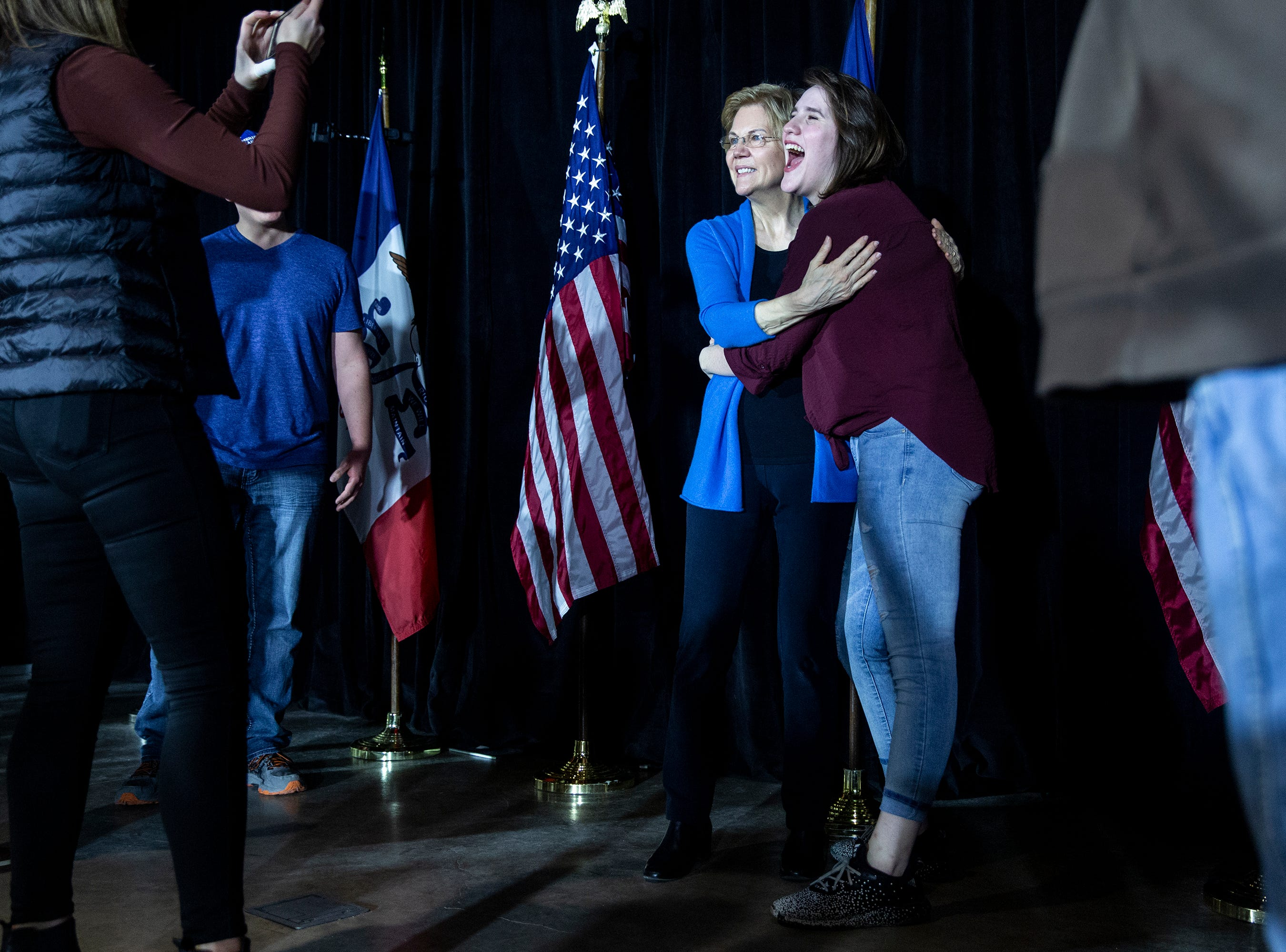 Sen. Elizabeth Warren, D-Mass., hugs a woman in the crowd after speaking in the Veterans Memorial Building in downtown Cedar Rapids on Sunday, Feb. 10, 2019. Warren stayed as long as it took to meet and take a photo with every person that wanted one.