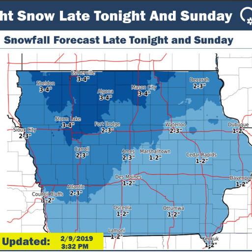 Iowa weather: Snow likely Sunday with 'bigger impact' snowfall expected Monday into Tuesday