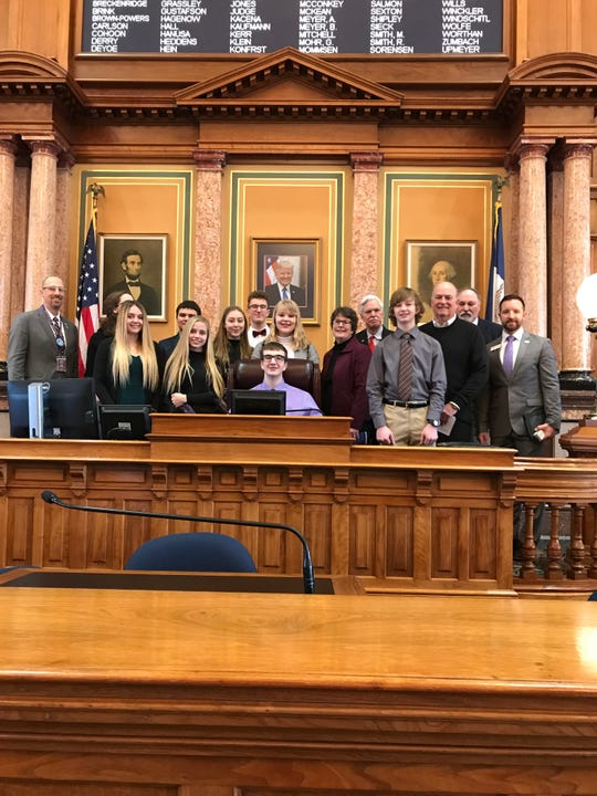 Representatives from the Norwalk school district, city of Norwalk, 	 Norwalk Area Chamber of Commerce, and Norwalk student leaders visited with state Rep. Stan Gustafson last week at the Capitol.