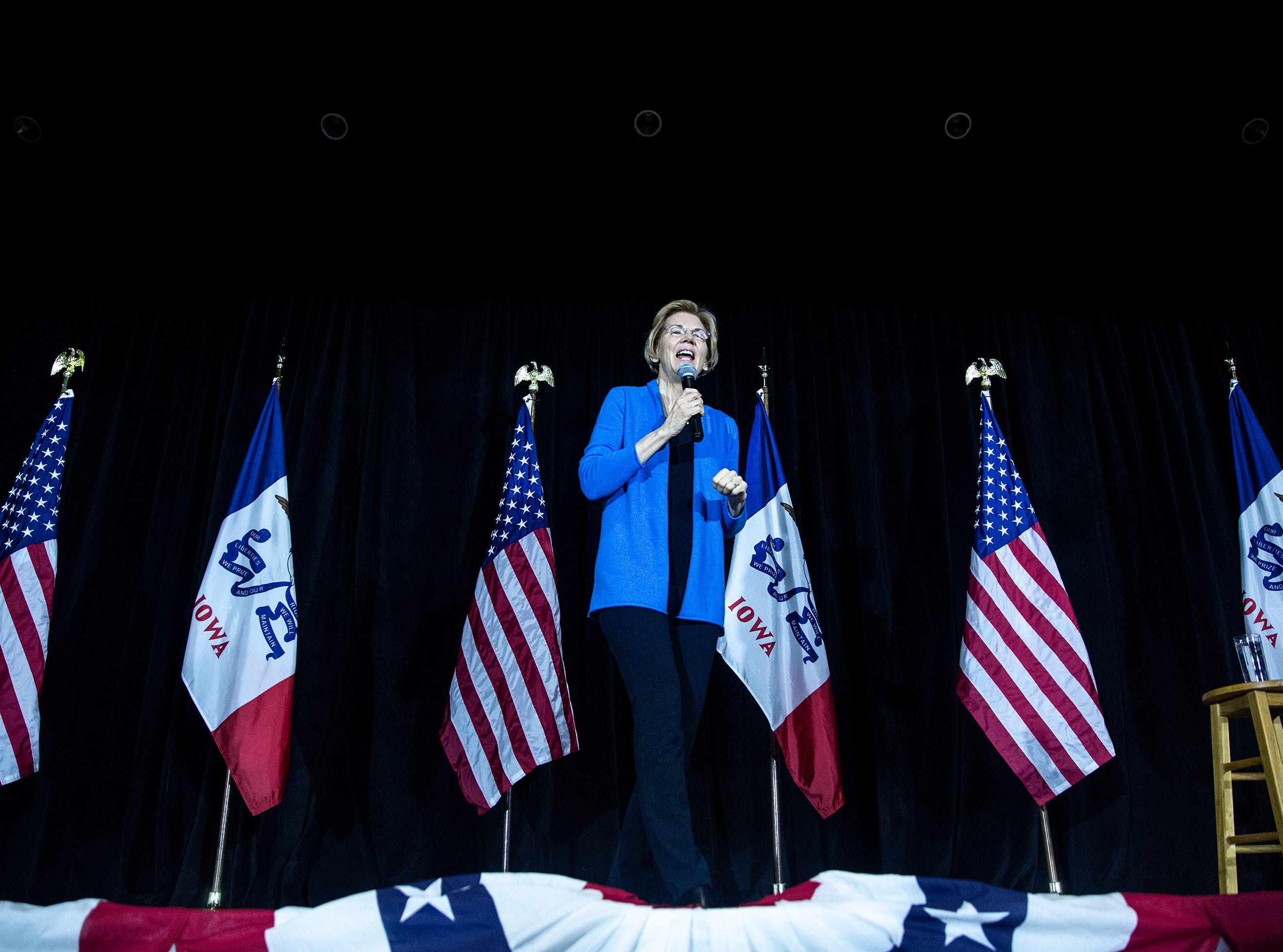Sen. Elizabeth Warren, D-Mass., speaks in the Veterans Memorial Building in downtown Cedar Rapids on Sunday, Feb. 10, 2019, the day after announcing her run for president.