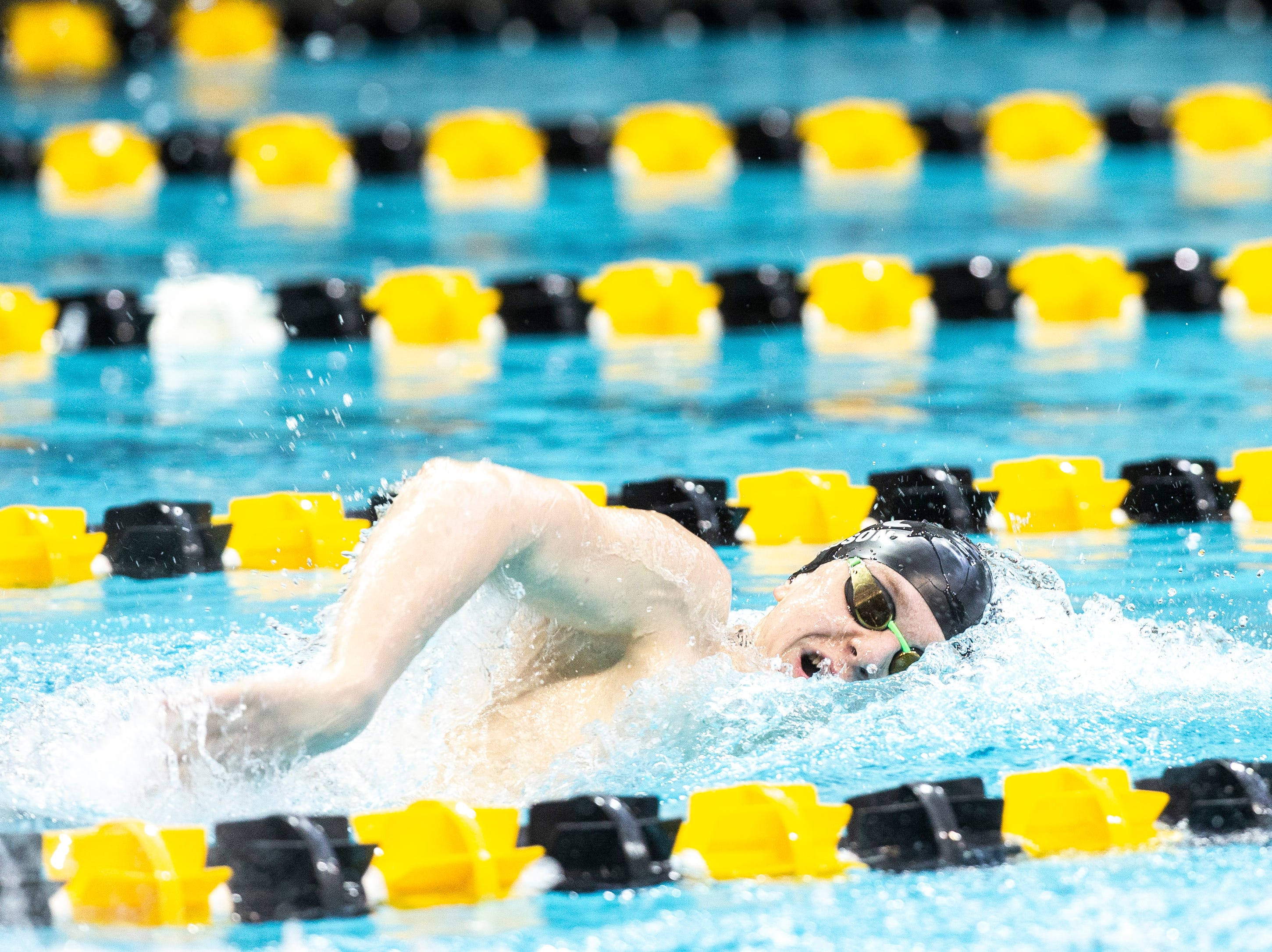 Ankeny sophomore Trent Frandson competes in the third heat of the 500 yard freestyle during the Iowa boys' state swimming regional championship meet on Saturday, Feb. 9, 2019 at Campus Recreation and Wellness Center on the University of Iowa campus in Iowa City, Iowa. Frandson set a state record with his first place finish, with a time of 4:23.46.