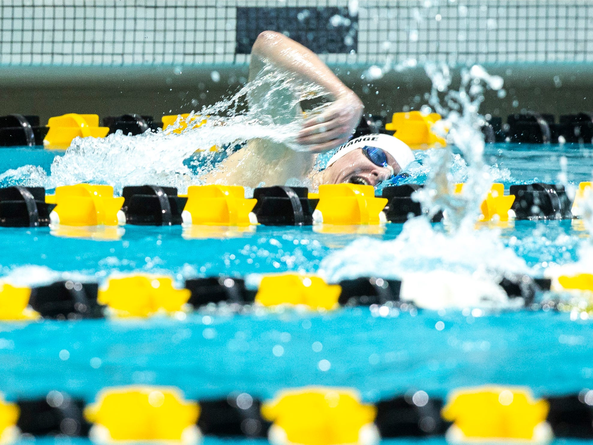 Indianola junior Brad LaGrange competes in the 500 yard freestyle during the Iowa boys' state swimming regional championship meet on Saturday, Feb. 9, 2019 at Campus Recreation and Wellness Center on the University of Iowa campus in Iowa City, Iowa. LaGrange finished 22nd overall, with a time of 4:59.85.