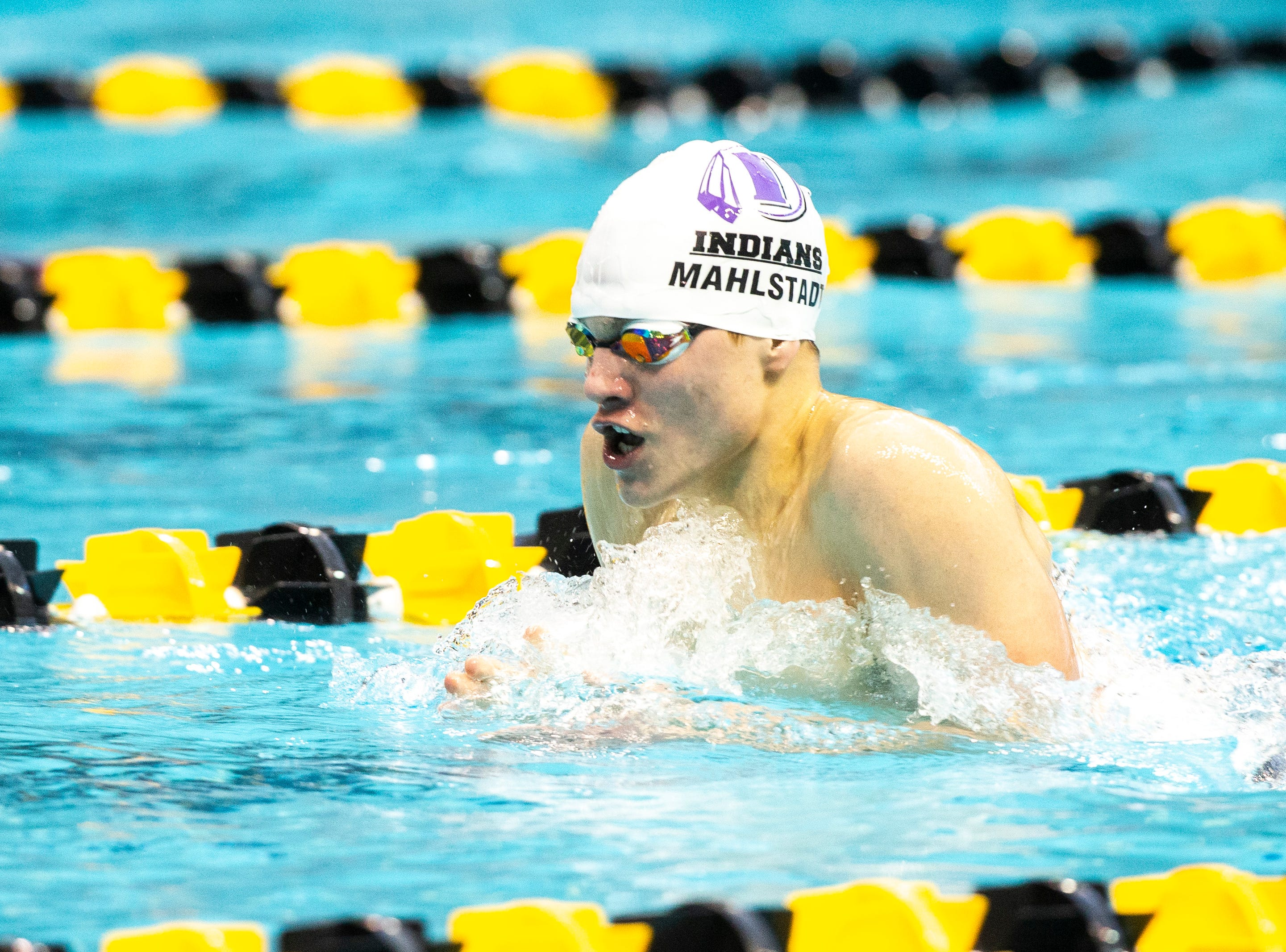 Indianola senior Jaxson Mahlstadt competes in the second heat of the 200 yard individual medley during the Iowa boys' state swimming regional championship meet on Saturday, Feb. 9, 2019 at Campus Recreation and Wellness Center on the University of Iowa campus in Iowa City, Iowa. Mahlstadt finished sixth overall, with a time of 1:57.14.