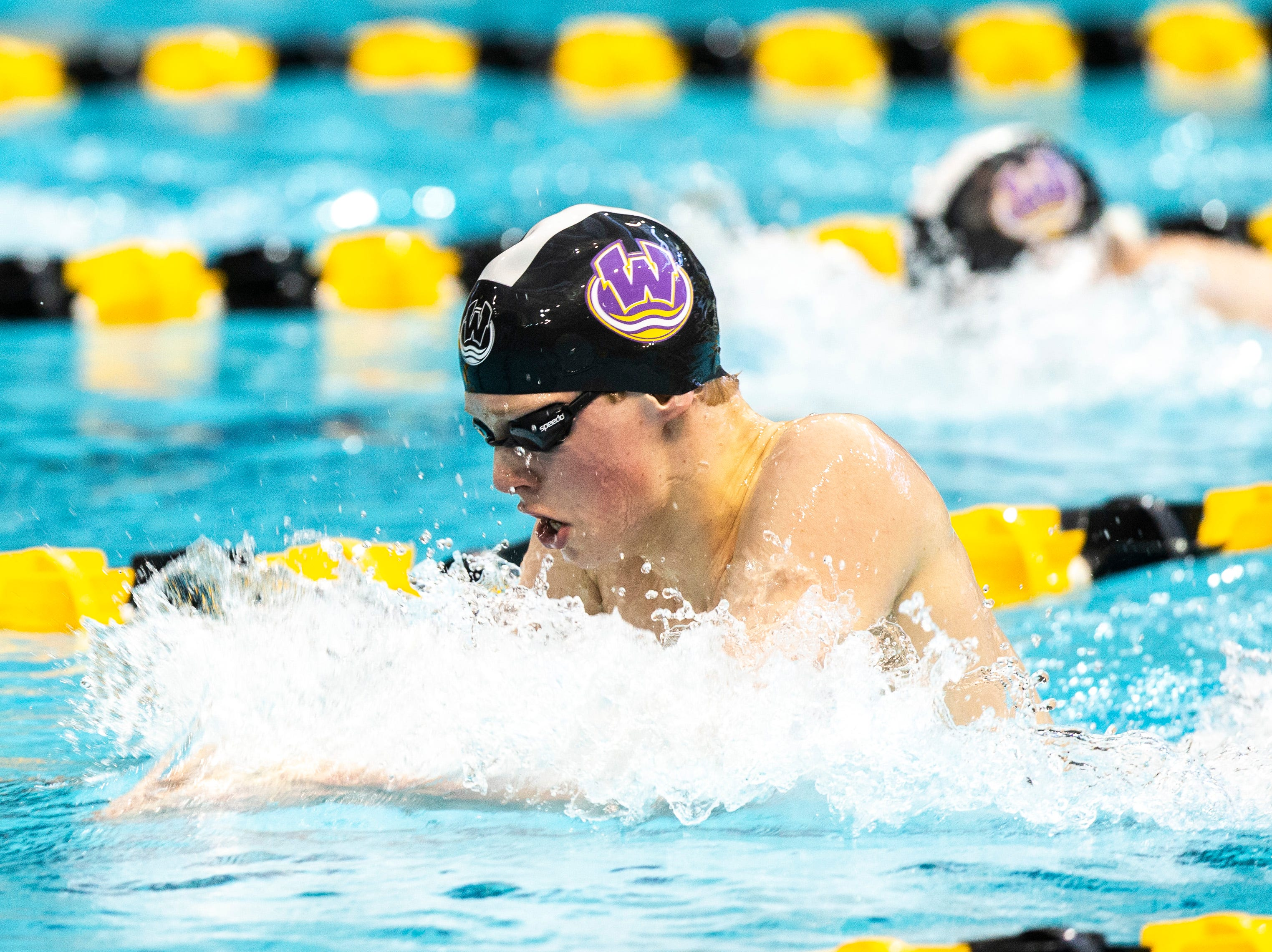 Waukee junior Cameron Linder competes during the 200 yard individual medley third heat during the Iowa boys' state swimming regional championship meet on Saturday, Feb. 9, 2019 at Campus Recreation and Wellness Center on the University of Iowa campus in Iowa City, Iowa. Linder finished first, with a time of 1:51.11.