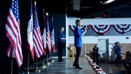 Sen. Elizabeth Warren, D-Mass., speaks in the Veterans Memorial Building in downtown Cedar Rapids on Sunday, Feb. 10, 2019, the day after announcing her run for president.