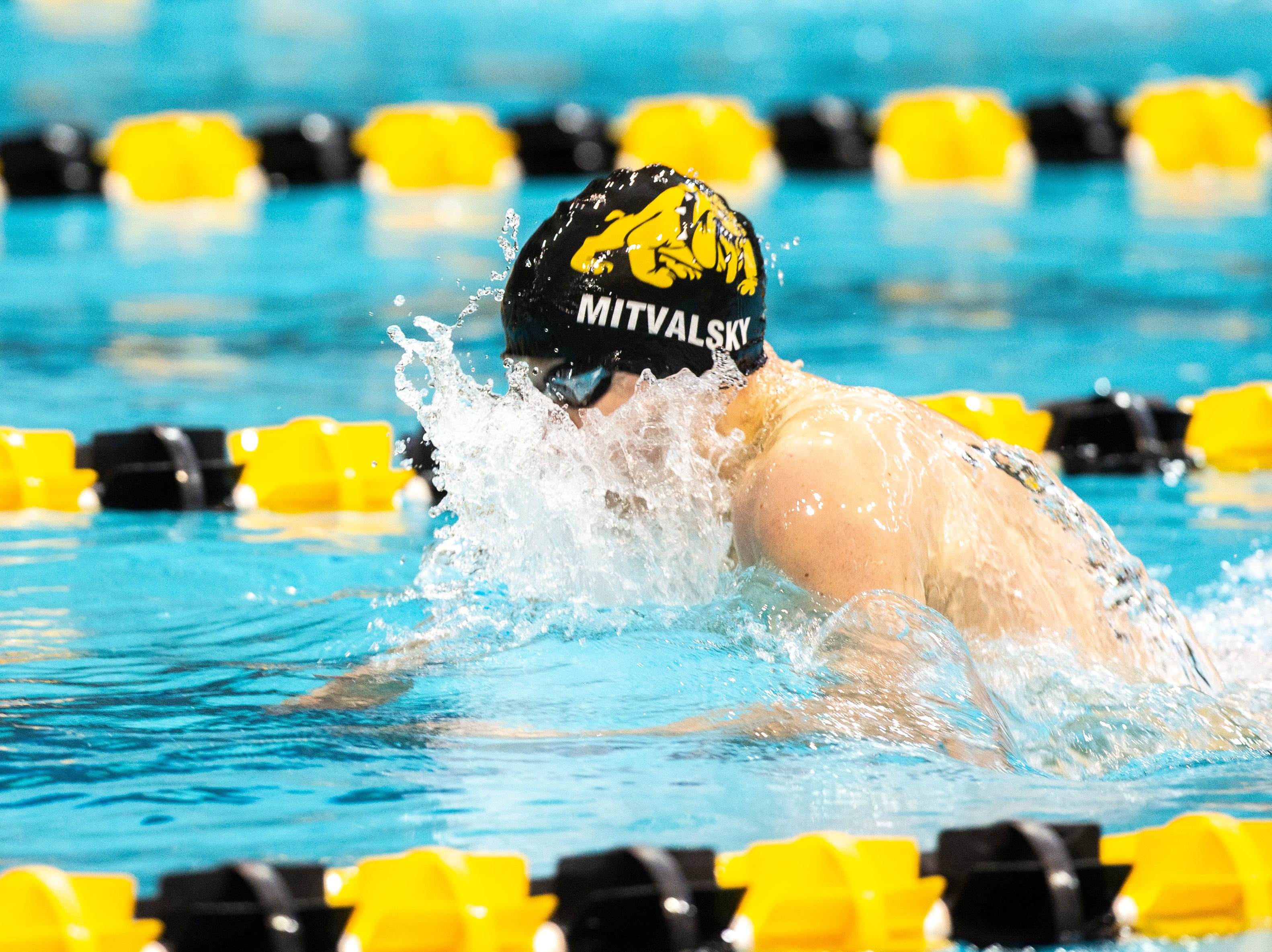 Bettendorf junior Ben Ketelaar competes in the first heat of 100 yard breaststroke during the Iowa boys' state swimming regional championship meet on Saturday, Feb. 9, 2019 at Campus Recreation and Wellness Center on the University of Iowa campus in Iowa City, Iowa. Ketelaar finished sixth overall, with a time of 1:00.06.