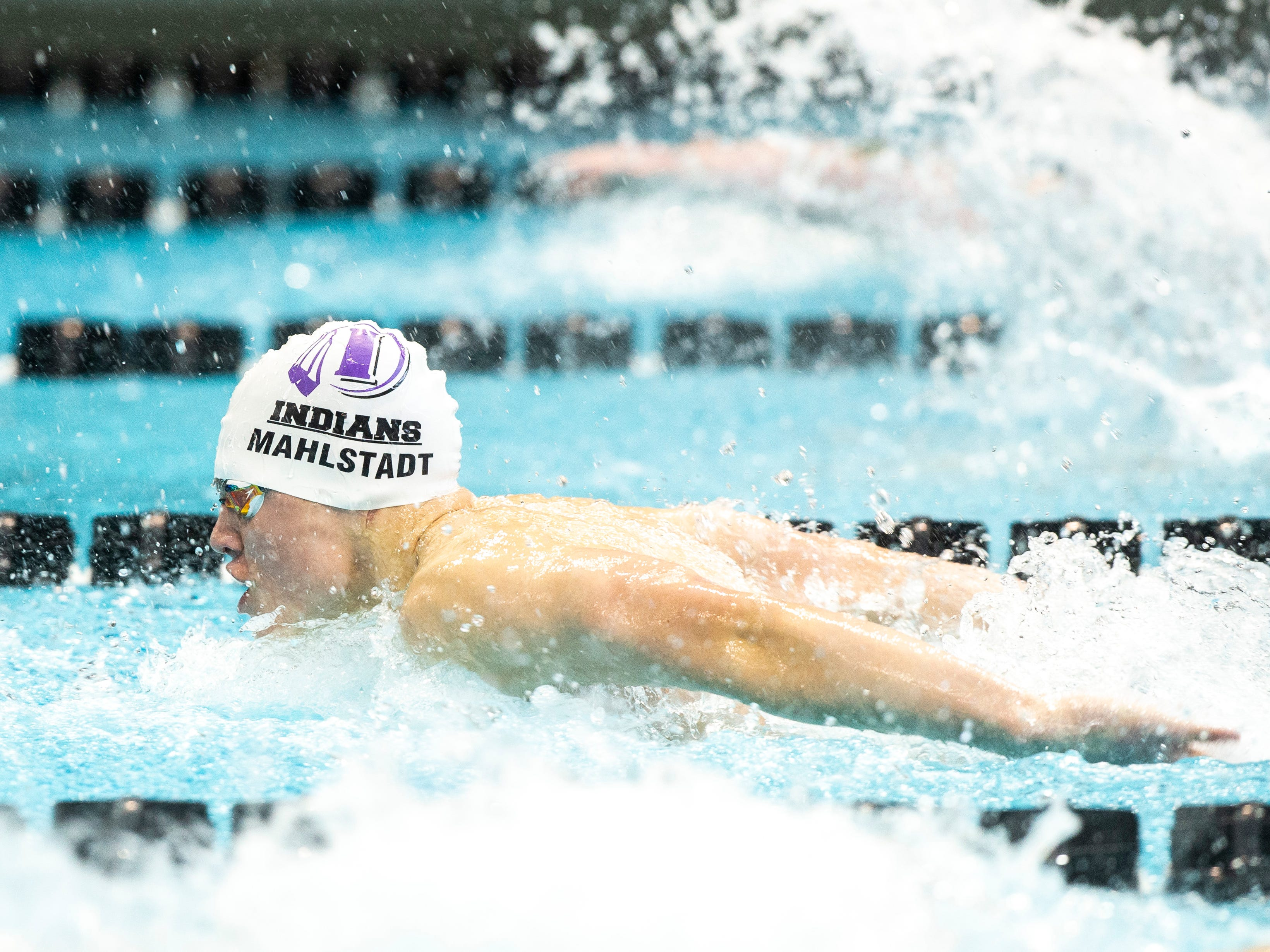 Indianola senior Jaxson Mahlstadt competes in the second heat of 100 yard butterfly during the Iowa boys' state swimming regional championship meet on Saturday, Feb. 9, 2019 at Campus Recreation and Wellness Center on the University of Iowa campus in Iowa City, Iowa.  Mahlstadt finished eighth overall, with a time of 52.73.