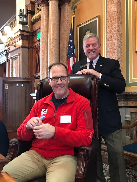 Chris Goodale of Indianola, executive director at Above and Beyond Cancer and a cancer survivor, visited state Rep. Scott Ourth at the Capitol last week.