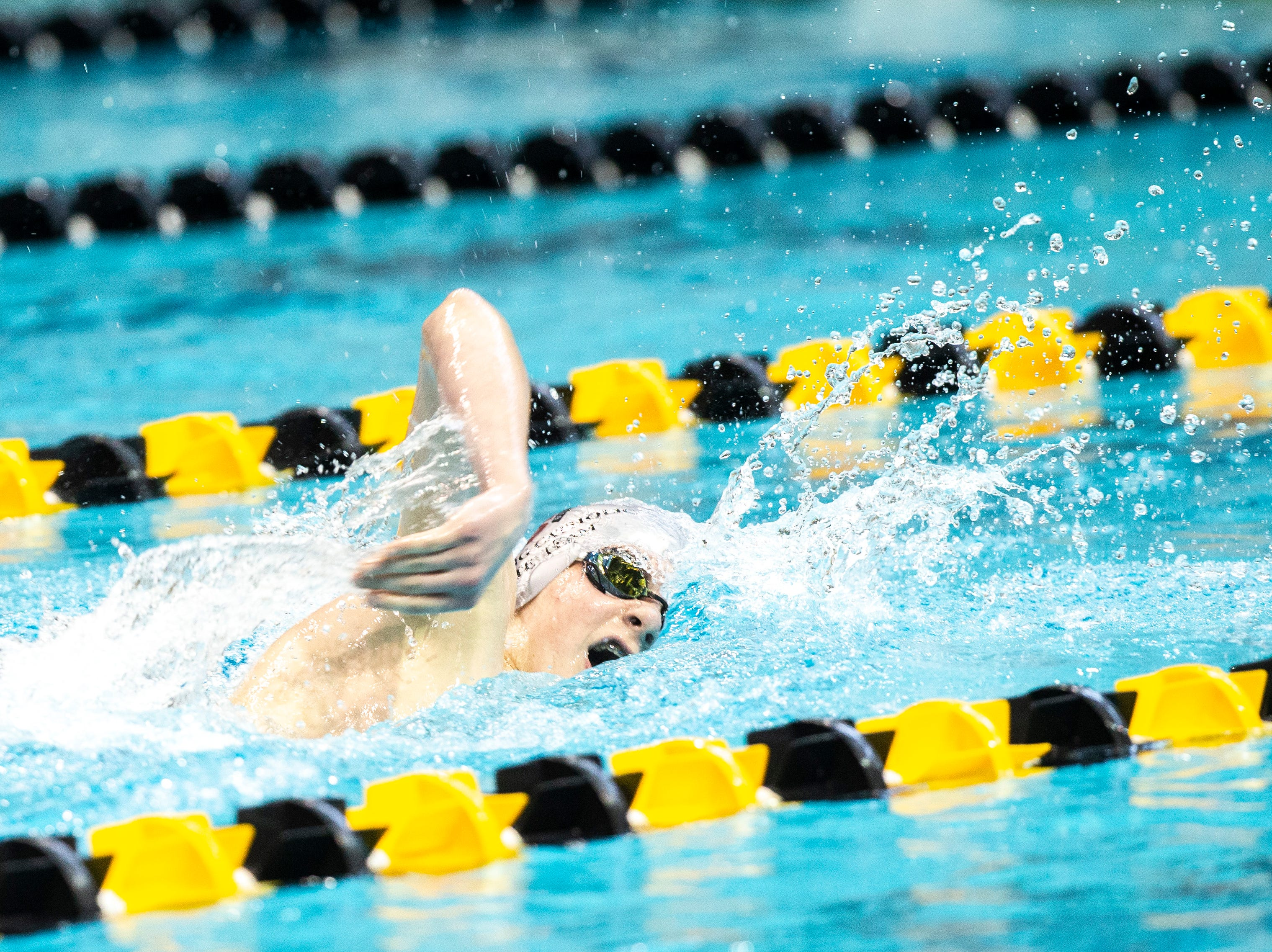 Dowling Catholic freshman Joey Hancock competes in the first heat of 500 yard freestyle during the Iowa boys' state swimming regional championship meet on Saturday, Feb. 9, 2019 at Campus Recreation and Wellness Center on the University of Iowa campus in Iowa City, Iowa. Hancock finished 12th overall, with a time of 4:48.86.