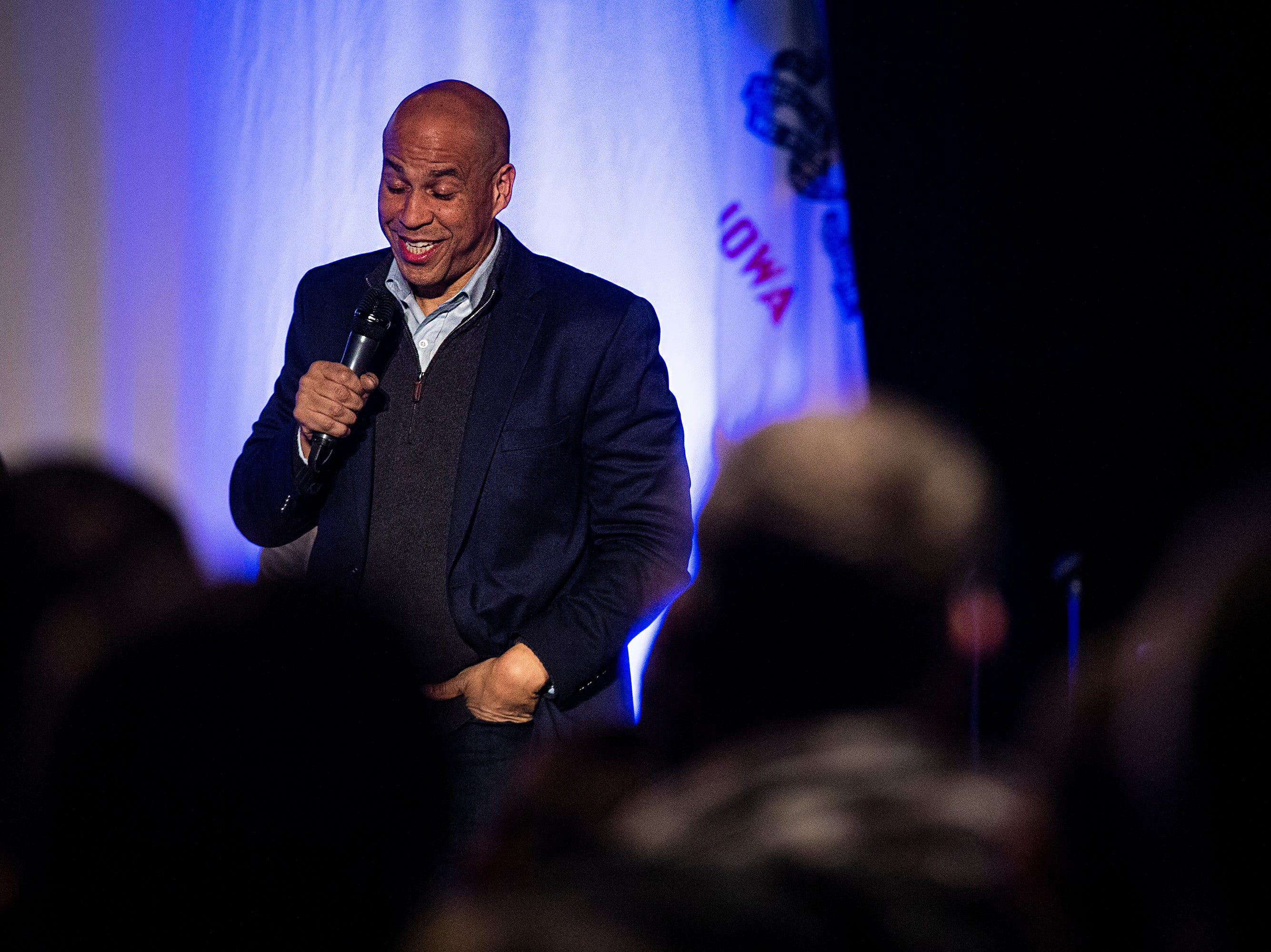 Sen. Cory Booker, D-N.J., speaks to a crowd of people gathered in the Kum & Go Theater on Saturday, Feb. 9, 2019, in downtown Des Moines. This is Bookers first swing through Iowa after announcing he's running for president.
