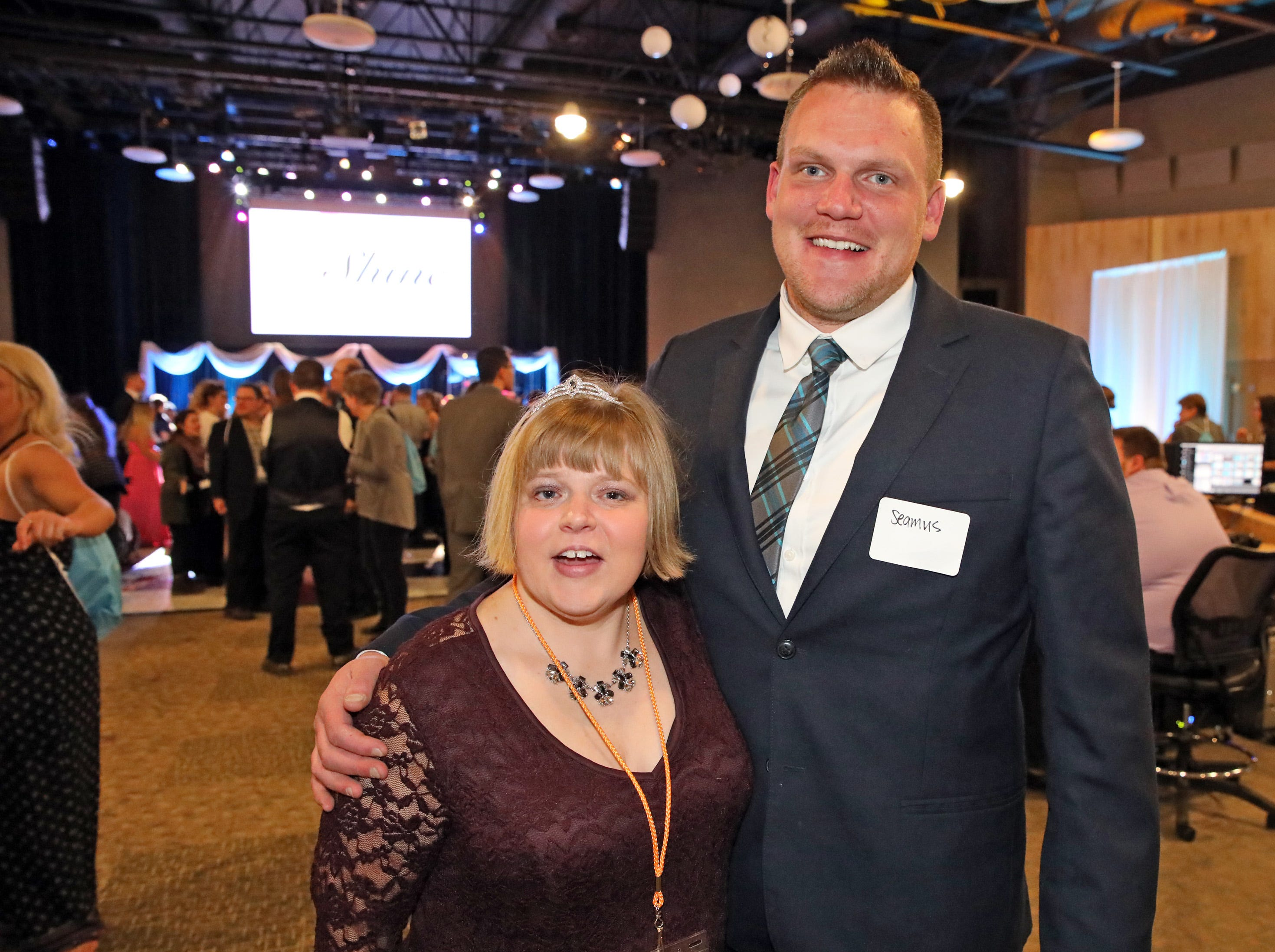 Jessica Smith of Ankeny and her brother, Seamus Wilkerson, enjoy the Night to Shine event at Prairie Ridge Church in Ankeny on Friday, Feb. 8, 2019. Sponsored by the Tim Tebow Foundation, the event for adults with special needs features a prom-like atmosphere with dancing, limo rides, food and more.