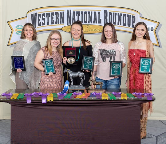 The senior horse judging team from Madison County represented Iowa at the Great Western National Roundup in Denver, Colorado, in January.  From left: coach Jana Peters, Sage Hildebrand, Sydney Hildebrand, Reyna Huseman, and Andie Cox.