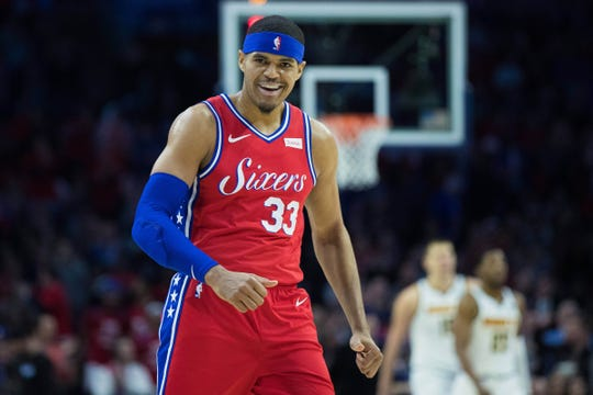 Philadelphia 76ers forward Tobias Harris reacts after a score against the Denver Nuggets at Wells Fargo Center, Feb. 8, 2019.