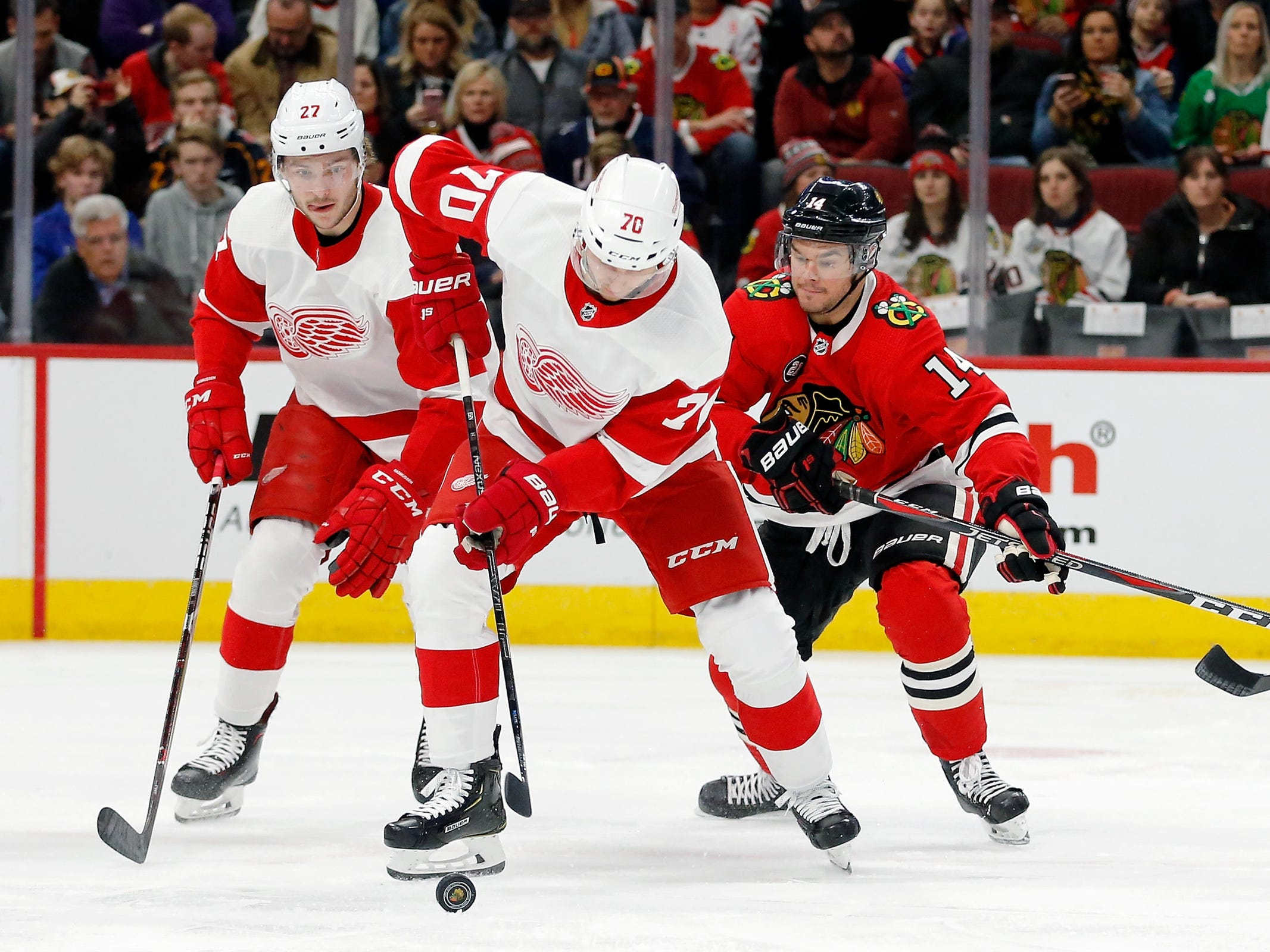 Detroit Red Wings center Christoffer Ehn controls the puck against Chicago Blackhawks left wing Chris Kunitz during the first period at United Center, Feb. 10, 2019.