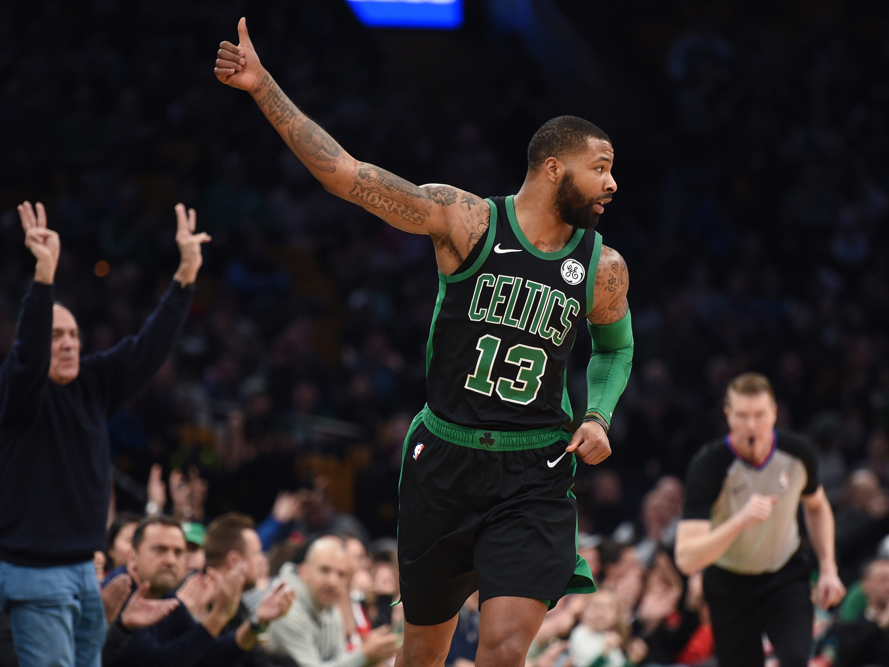 Boston Celtics forward Marcus Morris reacts after scoring against the Oklahoma City Thunder at TD Garden, Feb. 3, 2019.