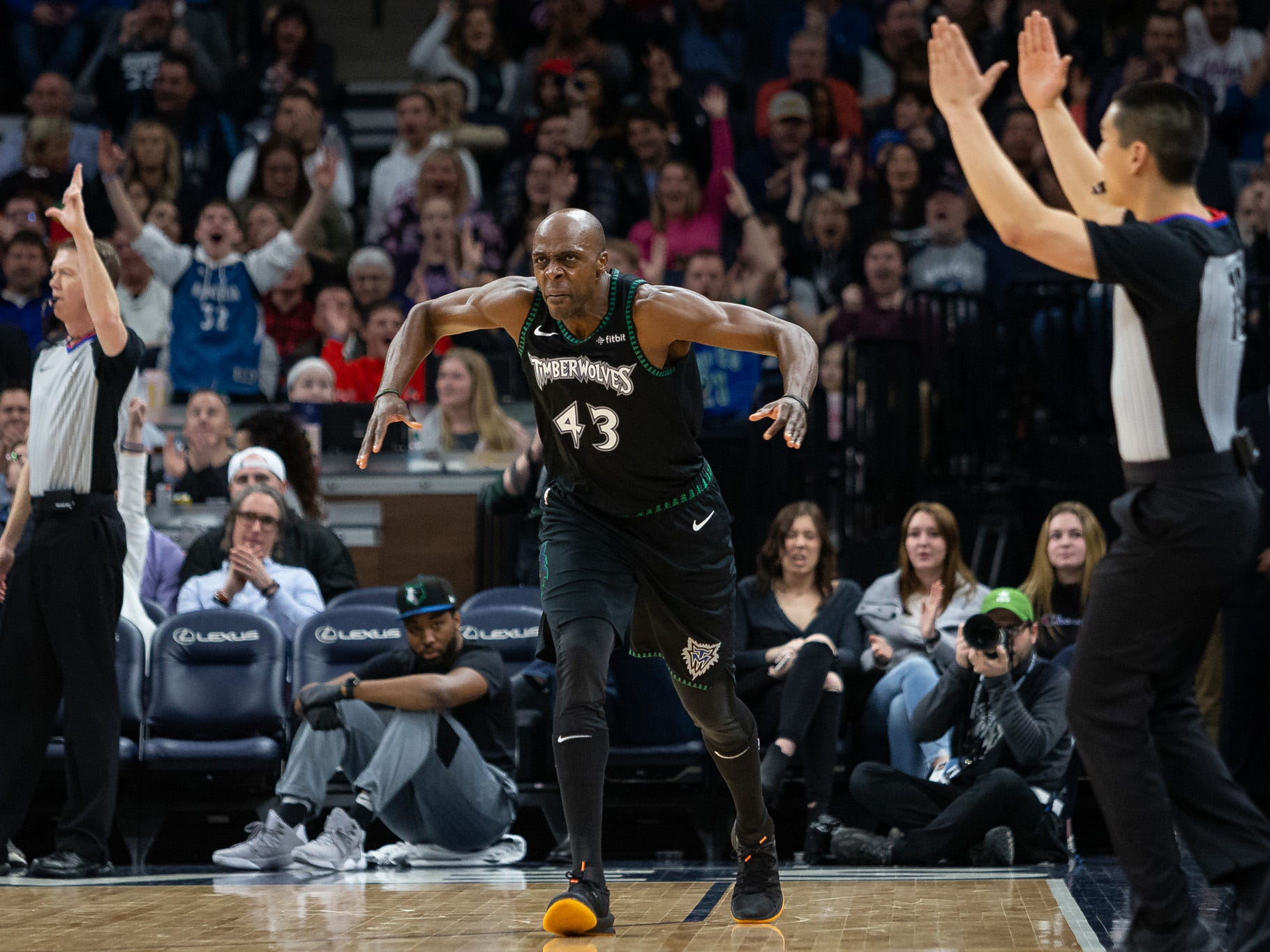 Minnesota Timberwolves forward Anthony Tolliver celebrates a play against the Orlando Magic at Target Center in Minneapolis, Jan. 4, 2019.