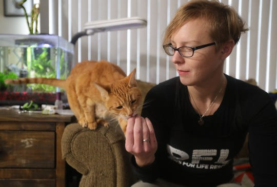 Cheryl Knapp works with Paws for Life Rescue in Troy.  The organization was chosen for the Jackson Galaxy Project's Cat Pawsitive program to train sheltered cats. Cheryl prepares treats for a session as her cat Gizmo looks on at her home in Warren, Sunday, February 10, 2019.