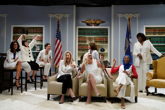 "A ""Saturday Night Live"" sketch tackled the ""Women of Congress"" on Feb. 9, 2019. Host Halsey as Rashida Tlaib, Aidy Bryant as Annie Kuster, Melissa Villaseñor as Alexandria Ocasio-Cortez, Heidi Gardner as Abigail Spanberger, Cecily Strong as Kyrsten Sinema, Kate McKinnon as Nancy Pelosi, Ego Nwodim as Ilhan Omar, and Leslie Jones as Maxine Waters."