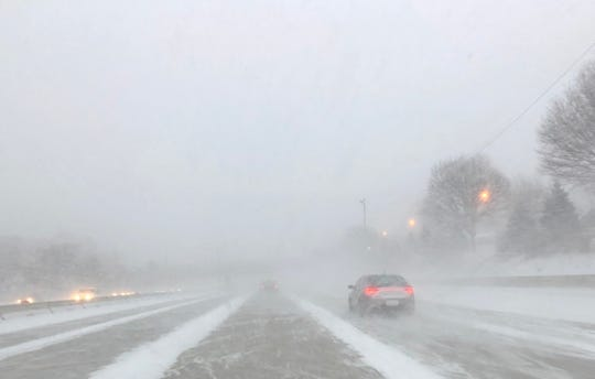 Weather conditions were near white out on eastbound I-696 in Warren, Sunday evening, February 10, 2019.