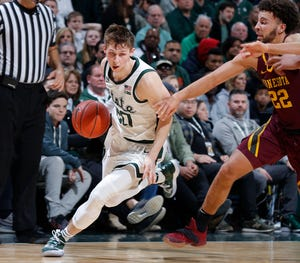Michigan State's Matt McQuaid sustained a sprained ankle.