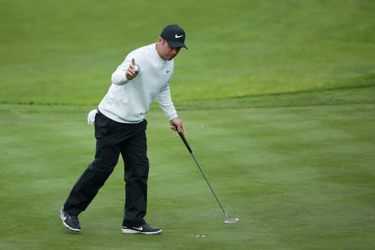 Paul Casey of England reacts during the third round of the AT&T Pebble Beach Pro-Am.