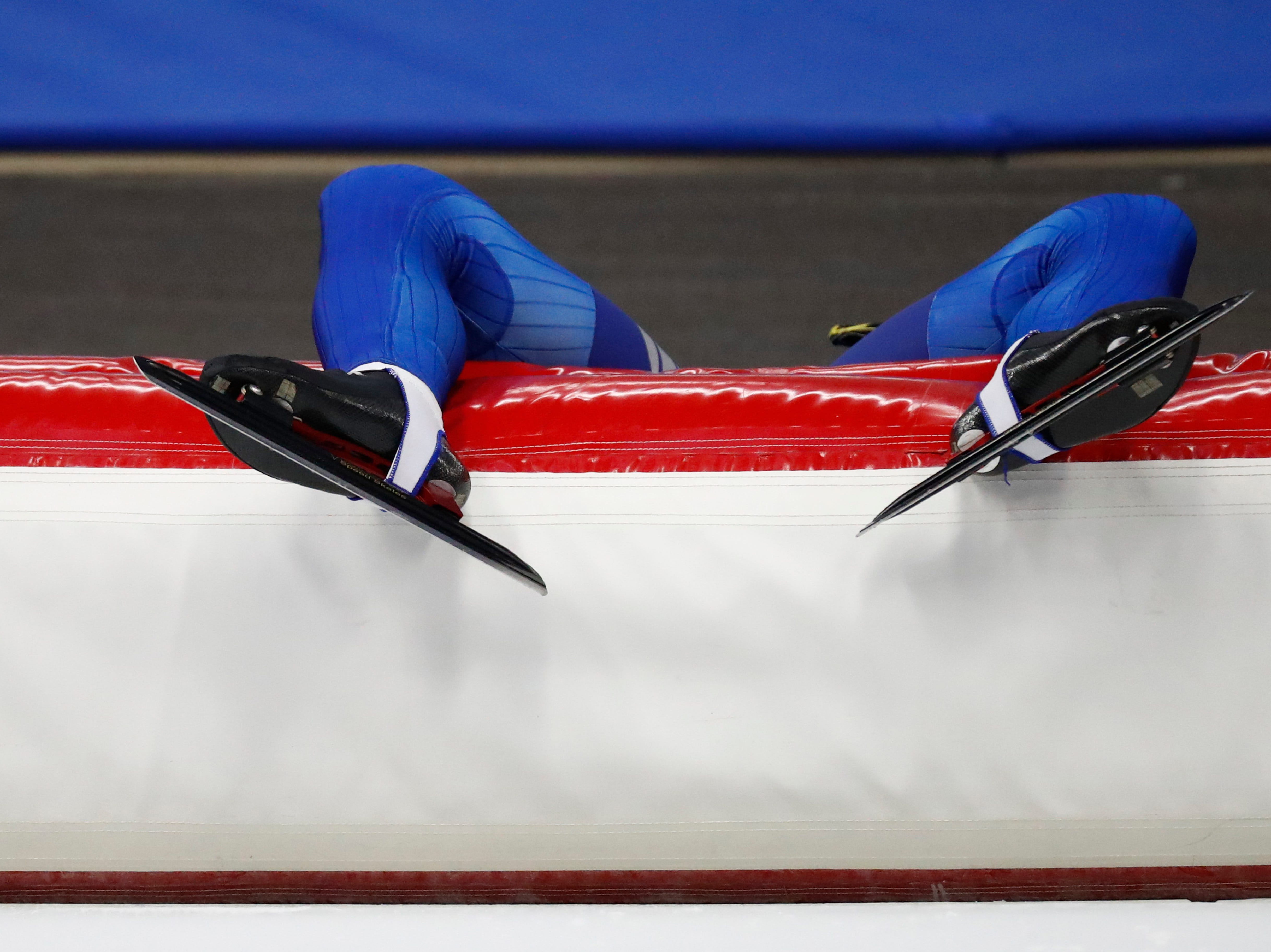 Bronze medallist Chung Jaewon catches his breath after the men's mass start race at the ISU single distance Speedskating World Championships in Inzell, Germany, Sunday, Feb. 10, 2019.