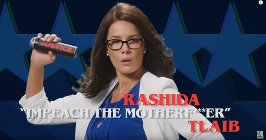 "Halsey portraying Rep. Rashida Tlaib from Detroit on ""Saturday Night Live."""