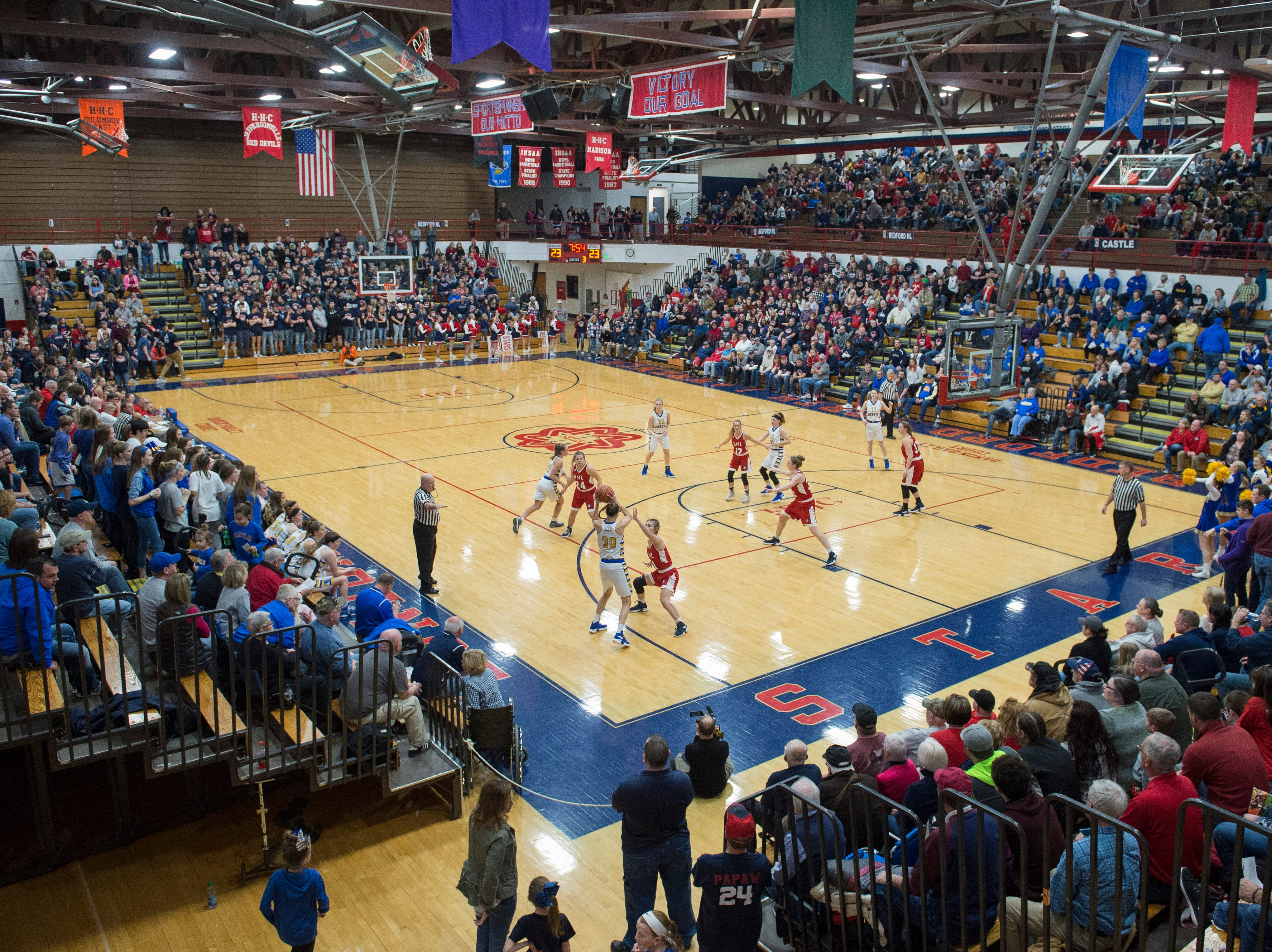 The Star Field House was packed with fans as the Castle Knights took on the Bedford North Lawrence Lady Stars during the IHSAA Girls Basketball Class 4A Regional Championship game in Bedford, Ind. Saturday, Feb. 9, 2019.