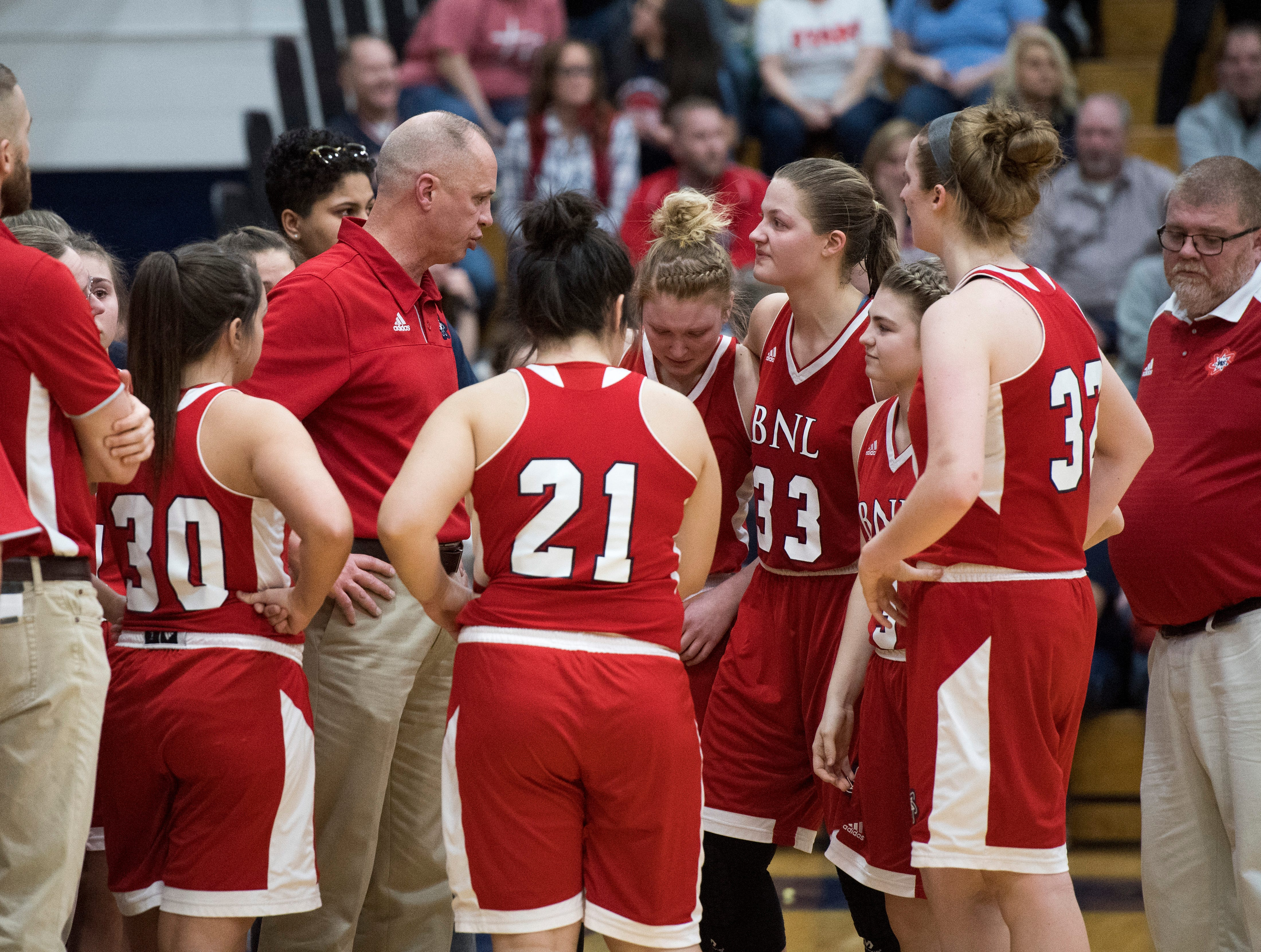 The emotions begin to rise as the Bedford North Lawrence Lady Stars except their loss in the final timeout of the  IHSAA Girls Basketball Class 4A Regional Championship game against the Castle Knights at the Stars Field House in Bedford, Ind. Saturday, Feb. 9, 2019. Bedford North Lawrence lost, 54-48.